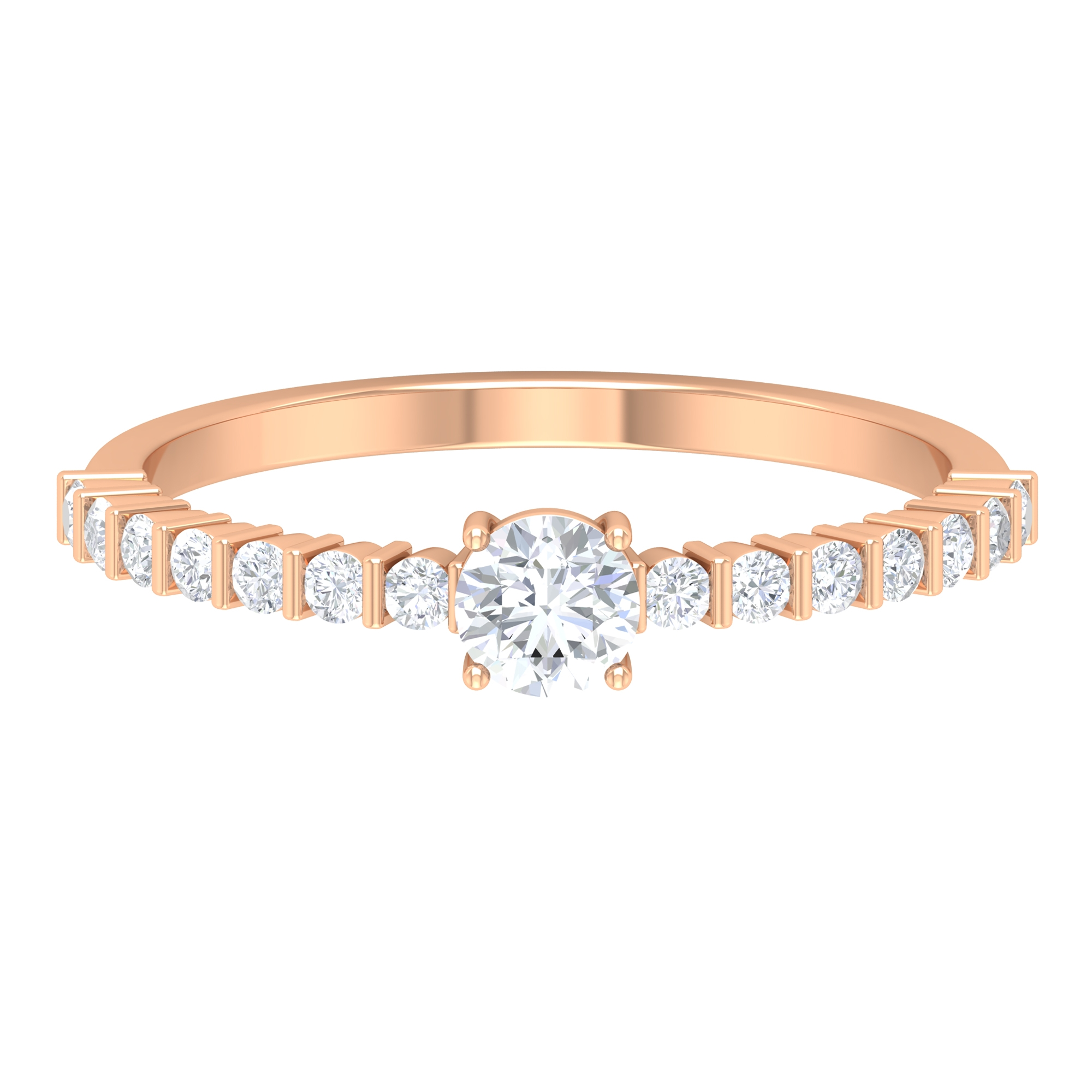 1/2 CT Basket Set Diamond Solitaire Ring with Bar Set Side Stones