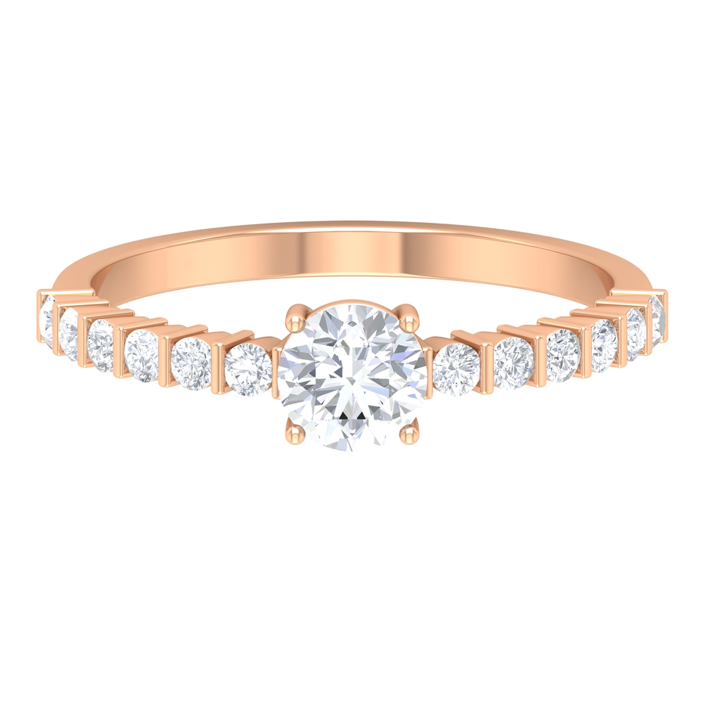 3/4 CT Basket Set Diamond Solitaire Ring with Bar Set Side Stones