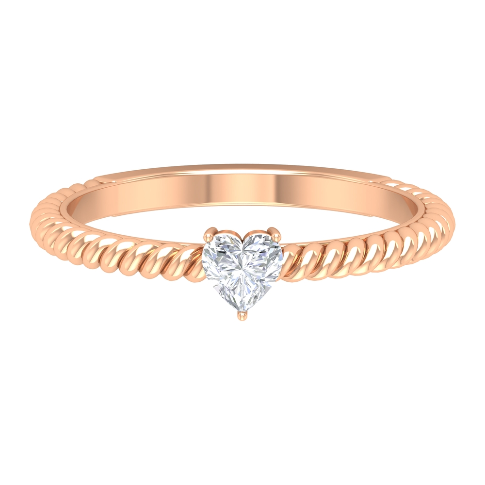 Three Prong Set 4 MM Heart Diamond Solitaire Ring with Twisted Rope Shank