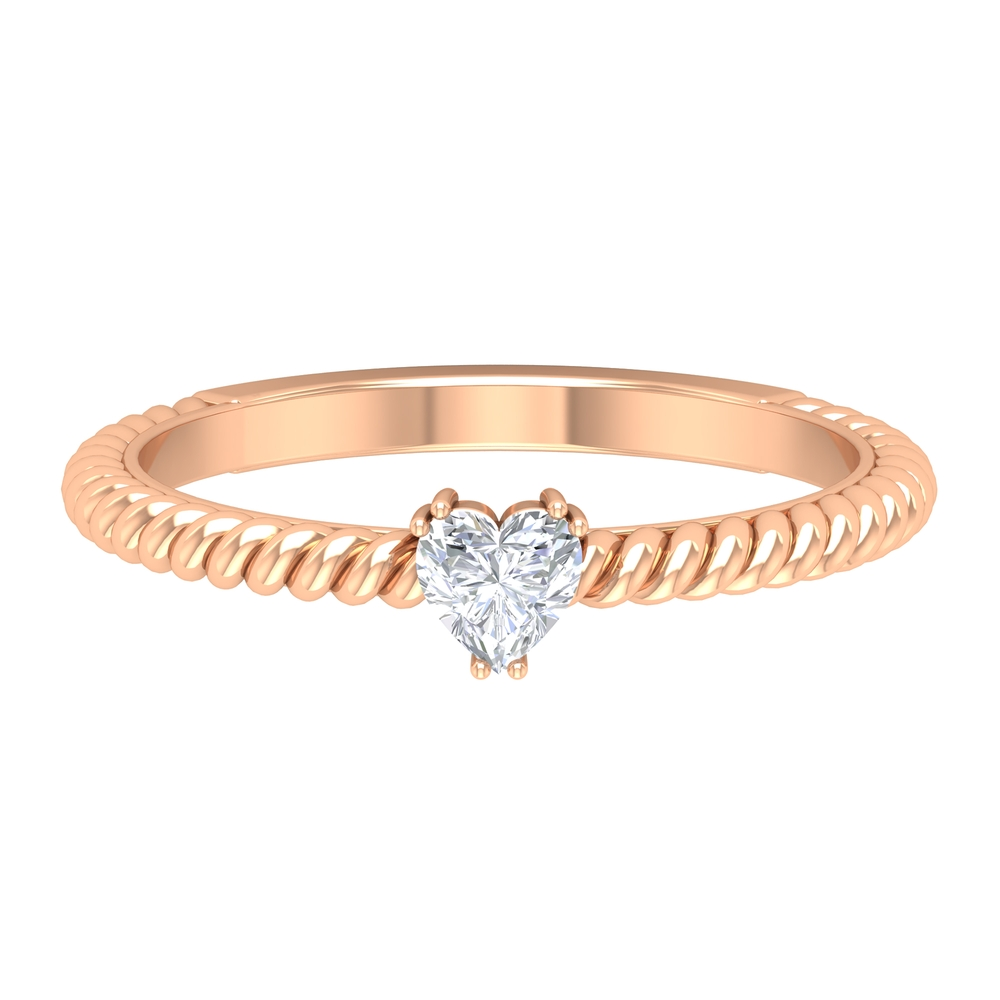 Double Prong Set 4 MM Heart Diamond Solitaire Ring in Twisted Rope Style
