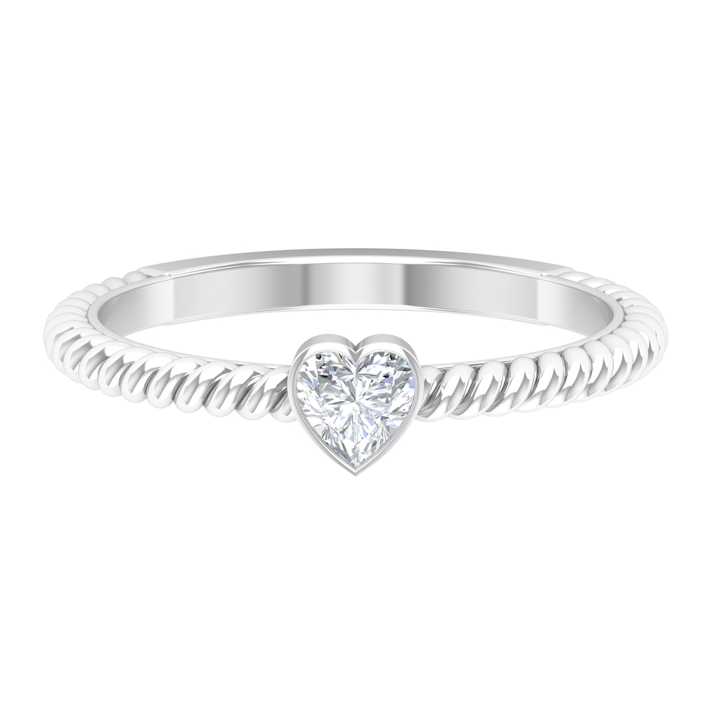 4 MM Heart Solitaire Diamond Ring in Bezel Set with Twisted Shank Design