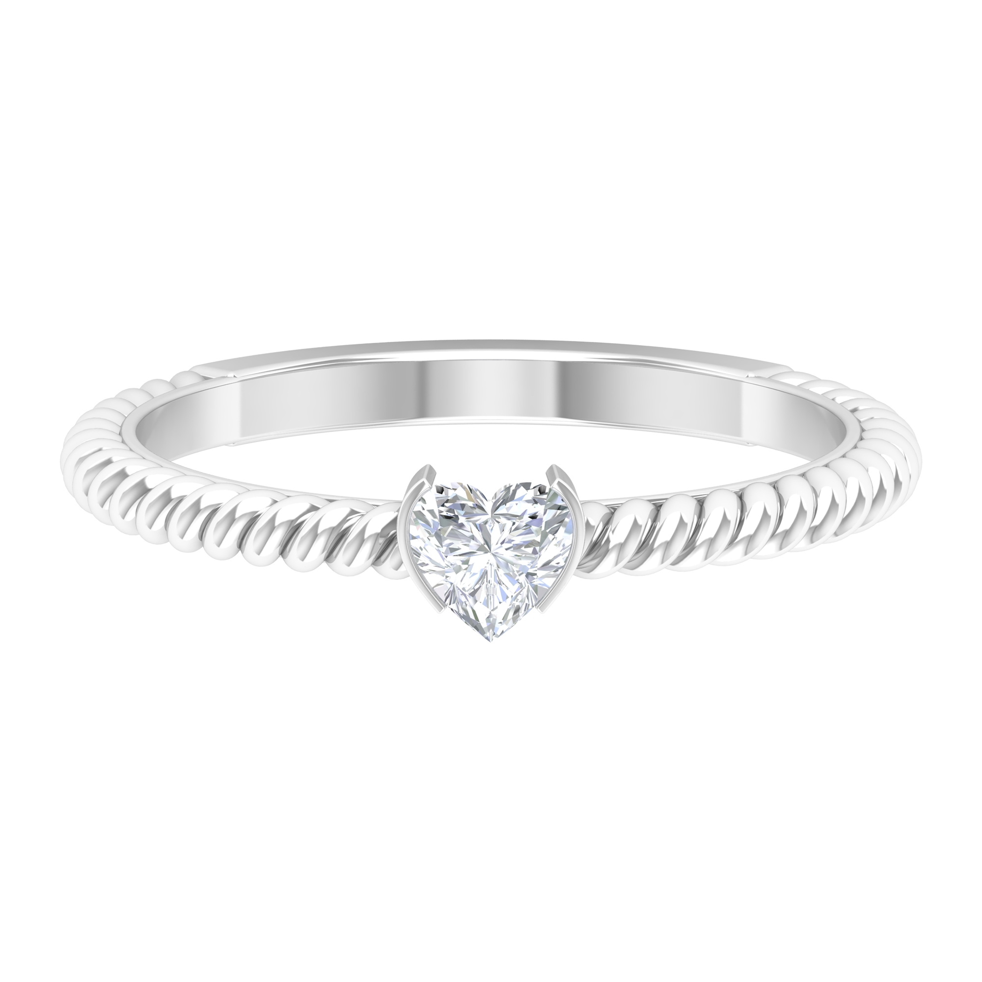 Half Bezel Set 4 MM Heart Diamond Solitaire Ring in Twisted Rope Shank