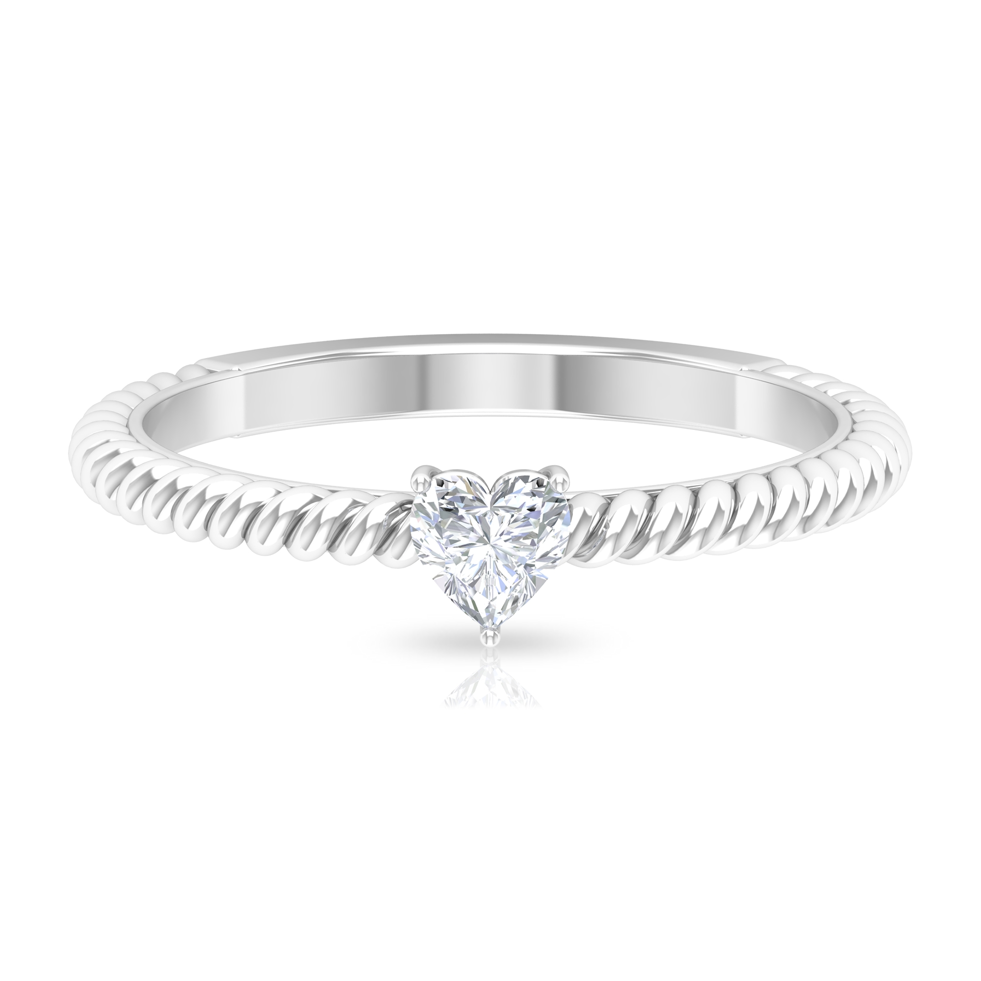 Three Prong Basket Set 4 MM Heart Diamond Solitaire Ring in Twisted Rope Style