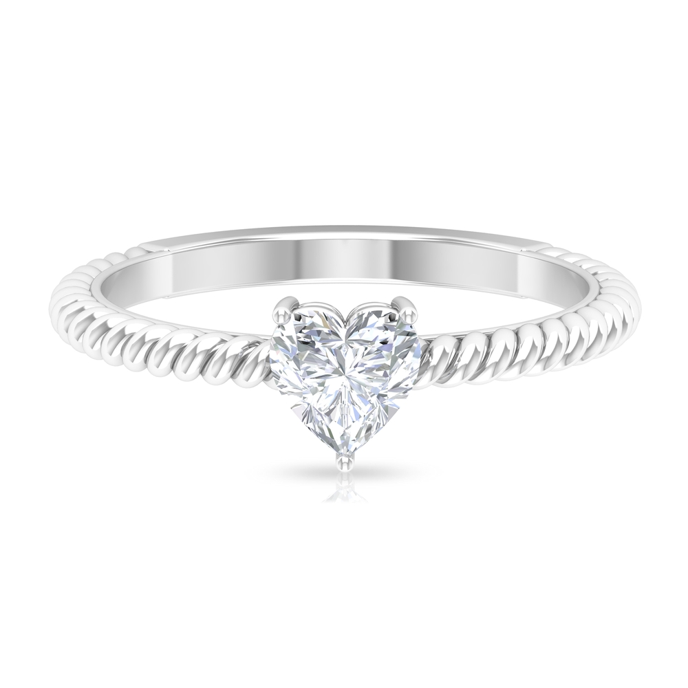 5.40 MM Heart Shape Diamond Solitaire Ring in 3 Prong Setting with Twisted Rope Details