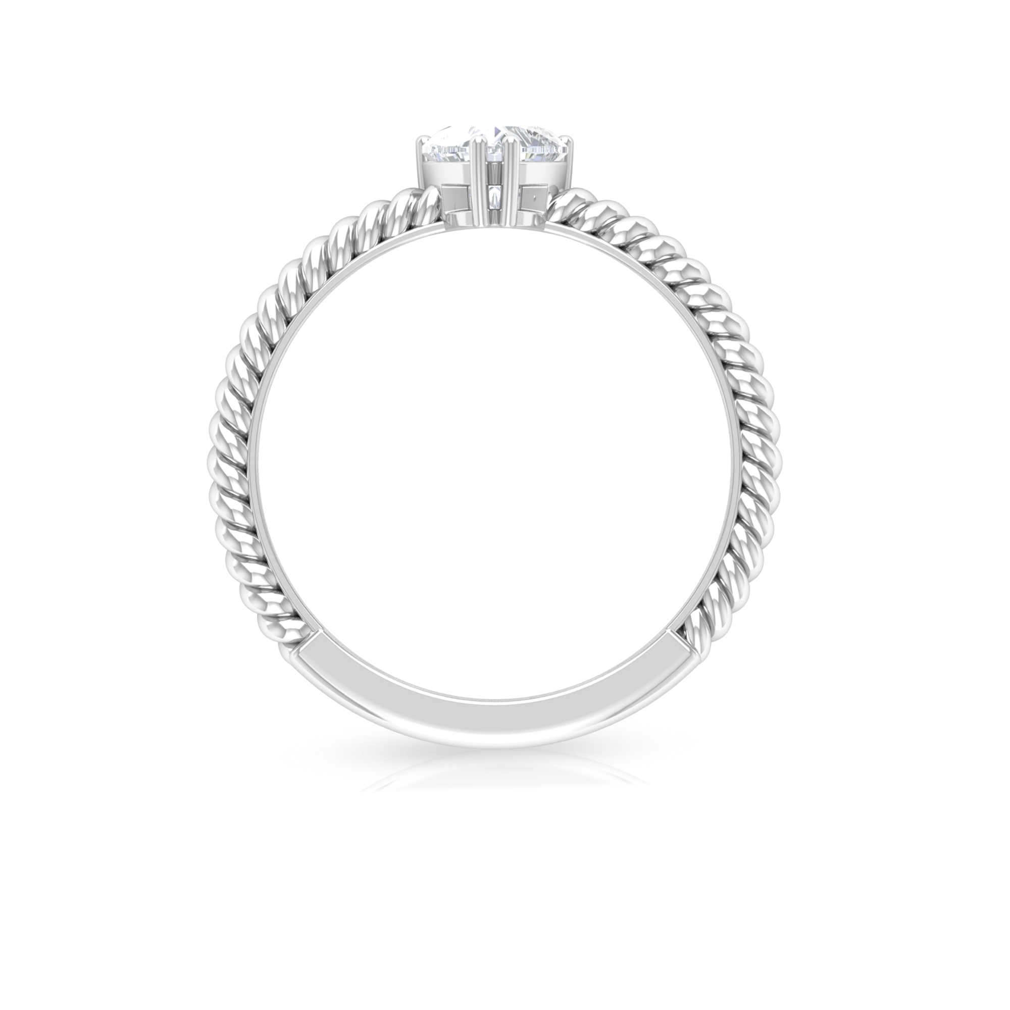 5.40 MM Heart Shape Diamond Solitaire Ring in Double Prong Setting with Twisted Rope Details