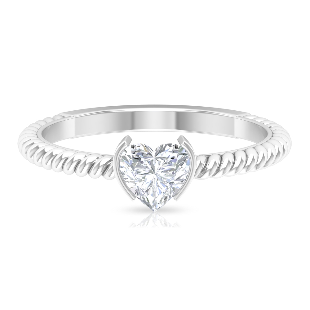 5.40 MM Heart Shape Diamond Solitaire Ring in Half Bezel Setting with Twisted Rope Details