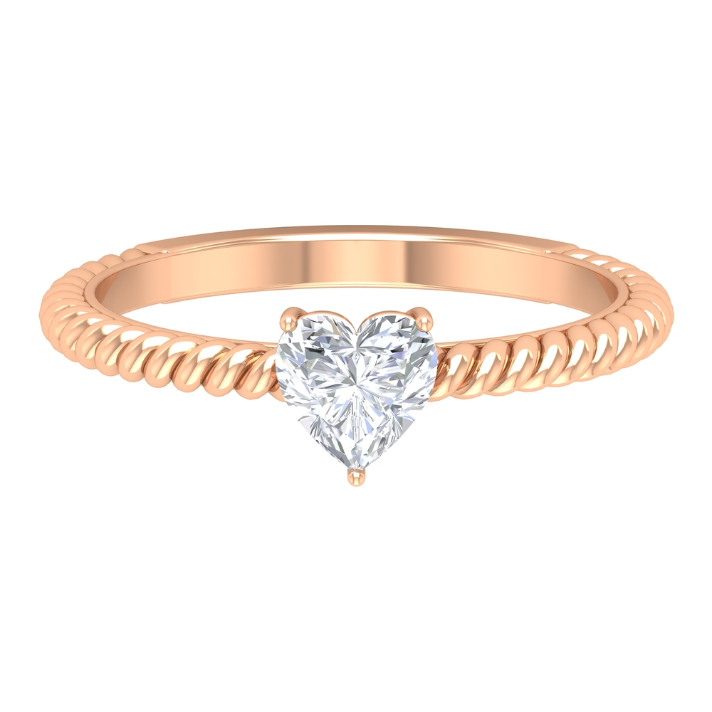5.40 MM Heart Shape Diamond Solitaire Ring in 3 Prong Basket Setting with Twisted Rope Details