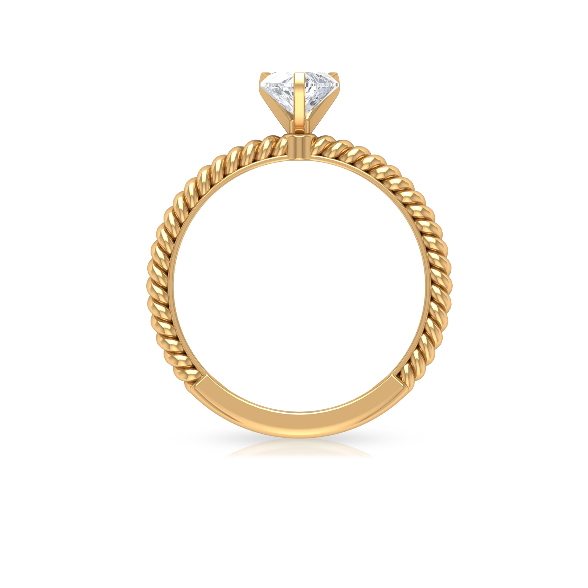 5.40 MM Heart Shape Diamond Solitaire Ring in 3 Prong Peg Head Setting with Twisted Rope Details