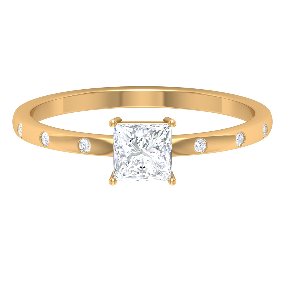 4.5 MM Princess Cut Diamond Solitaire Ring in Four Prong Set with Sleek Accent