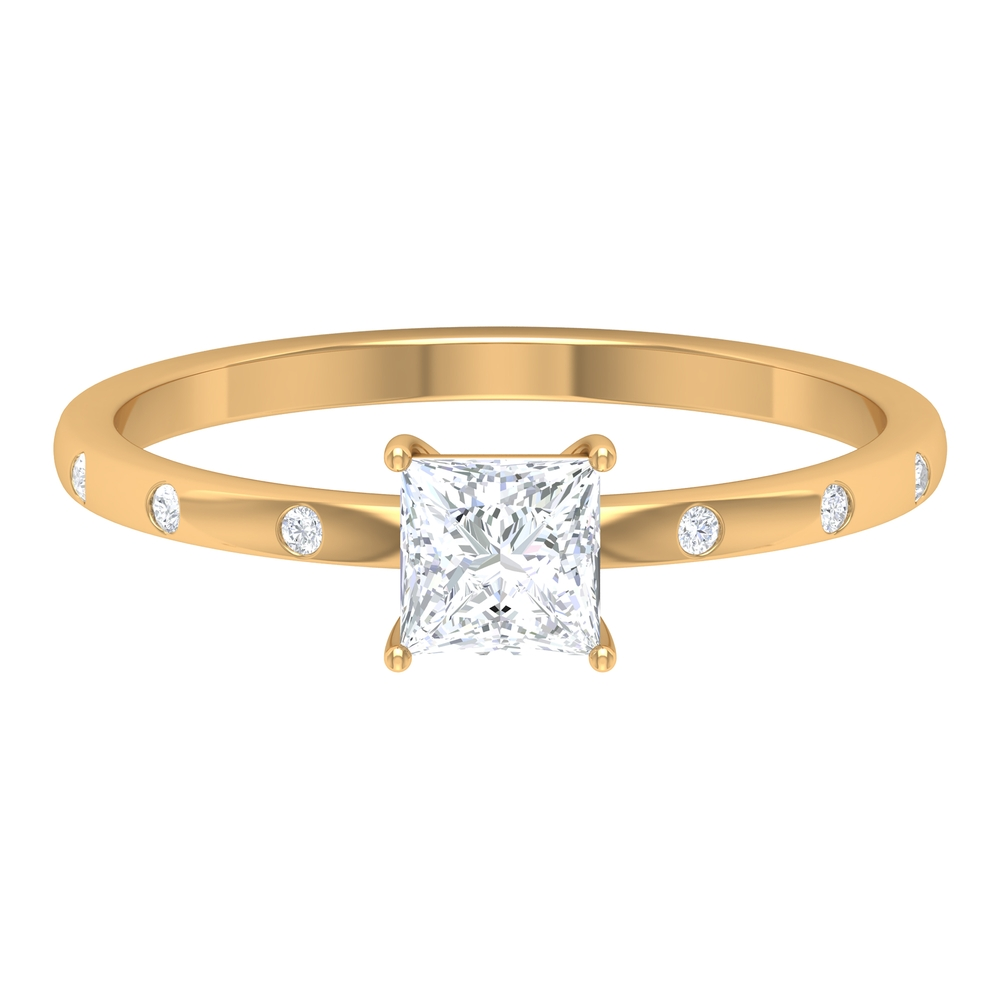 4.5 MM Princess Cut Diamond Solitaire Ring in Basket Set with Sleek Accent