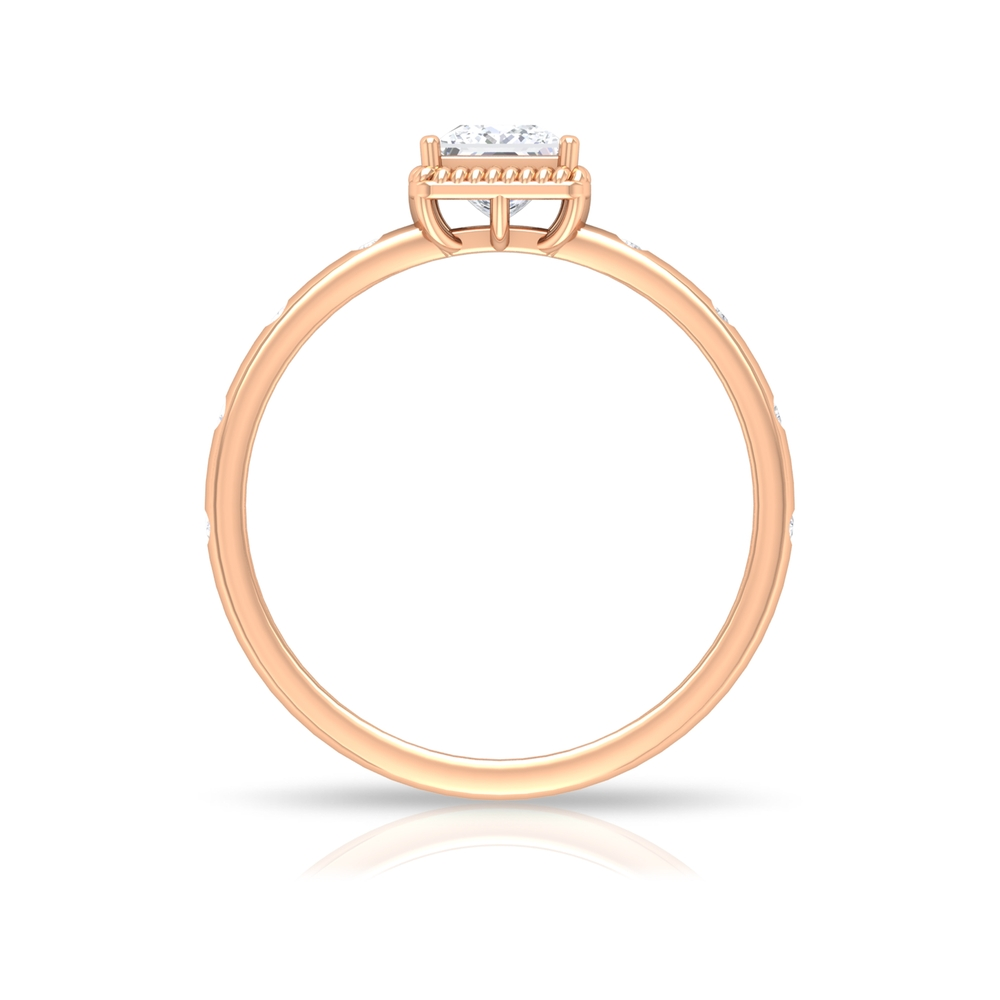 4.5 MM Princess Cut Diamond Solitaire Ring in Rope Frame and Sleek Accent