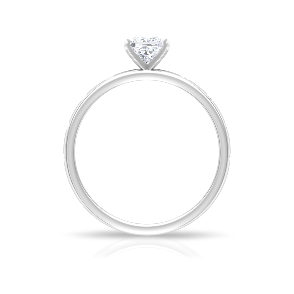 Four Prong Peg Head Set 4.5 MM Princess Cut Diamond Solitaire Ring with Sleek Accent