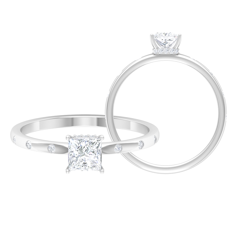 4.5 MM Princess Cut Diamond Solitaire Ring in Hidden Halo Style and Sleek Accent