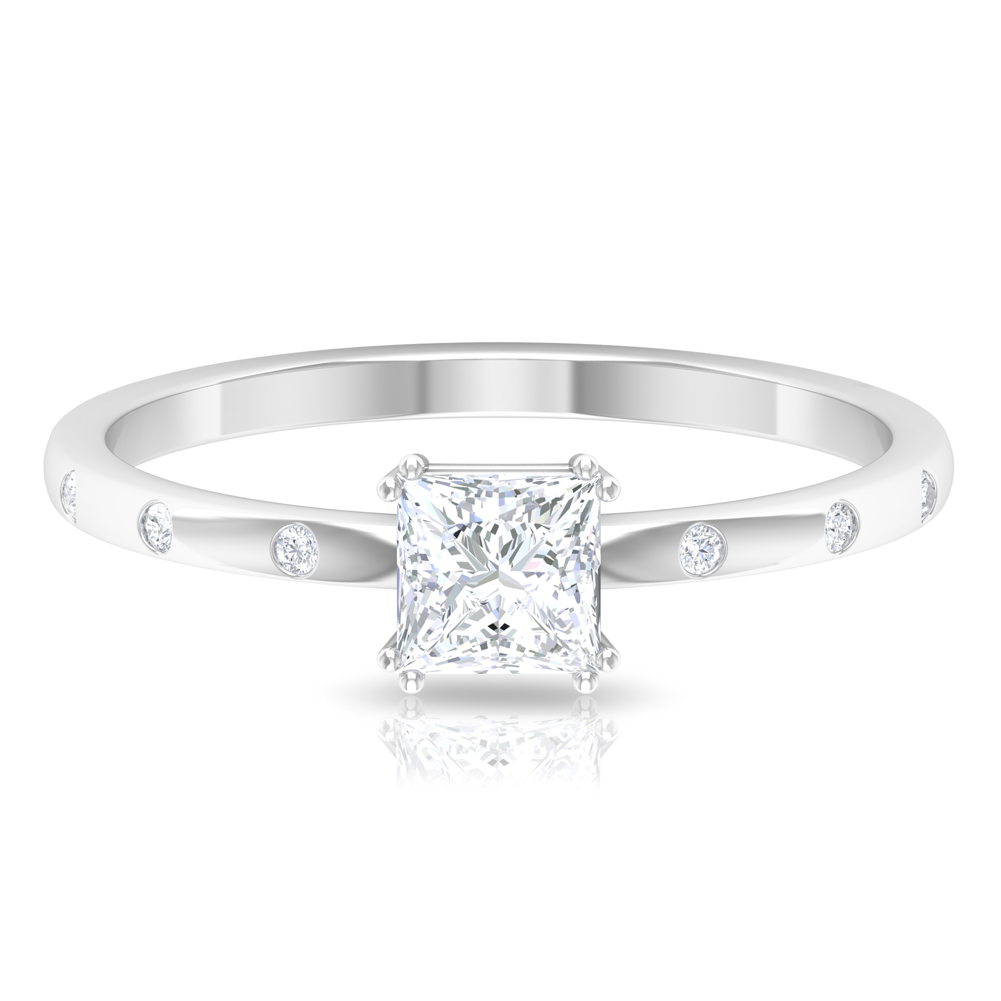 Double Prong Set 4.5 MM Princess Cut Solitaire Diamond Ring with Sleek Accent