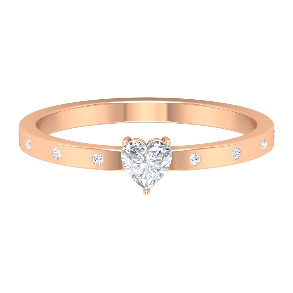 4 MM Heart Diamond Solitaire Ring in Three Prong Set with Sleek Accent