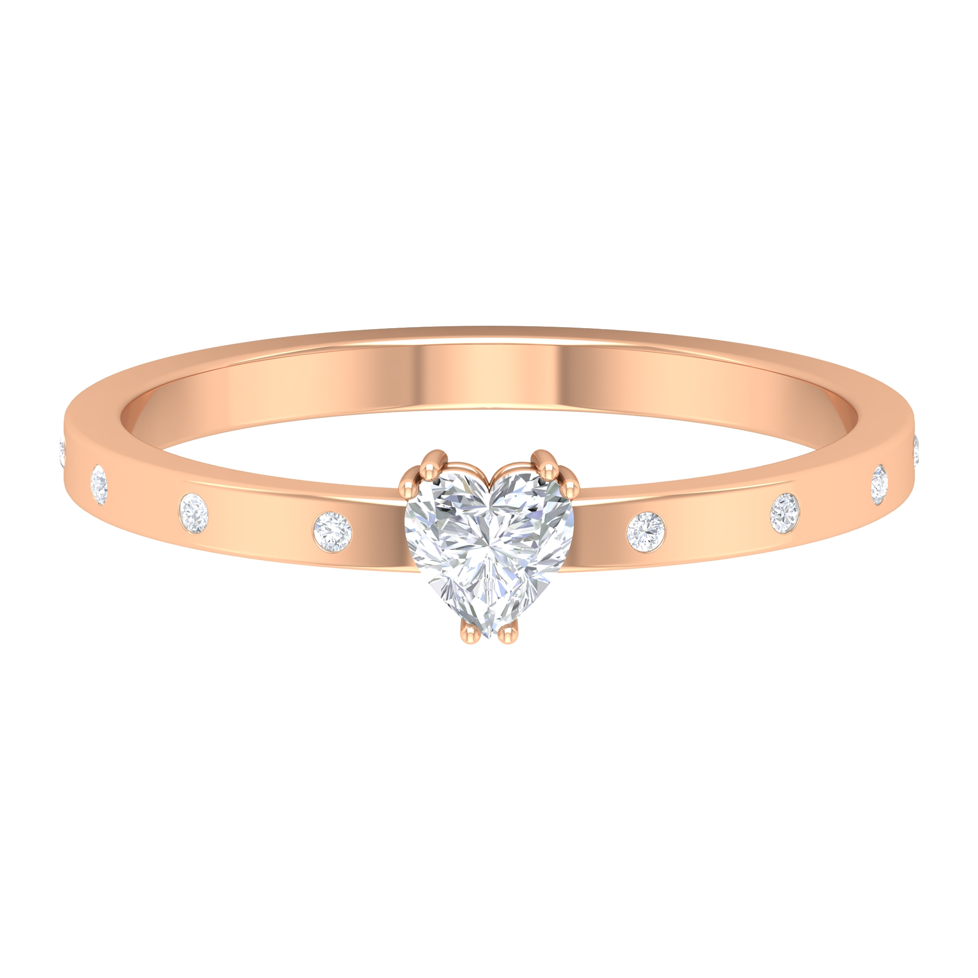 Double Prong Set 4 MM Heart Diamond Solitaire Ring with Sleek Accent