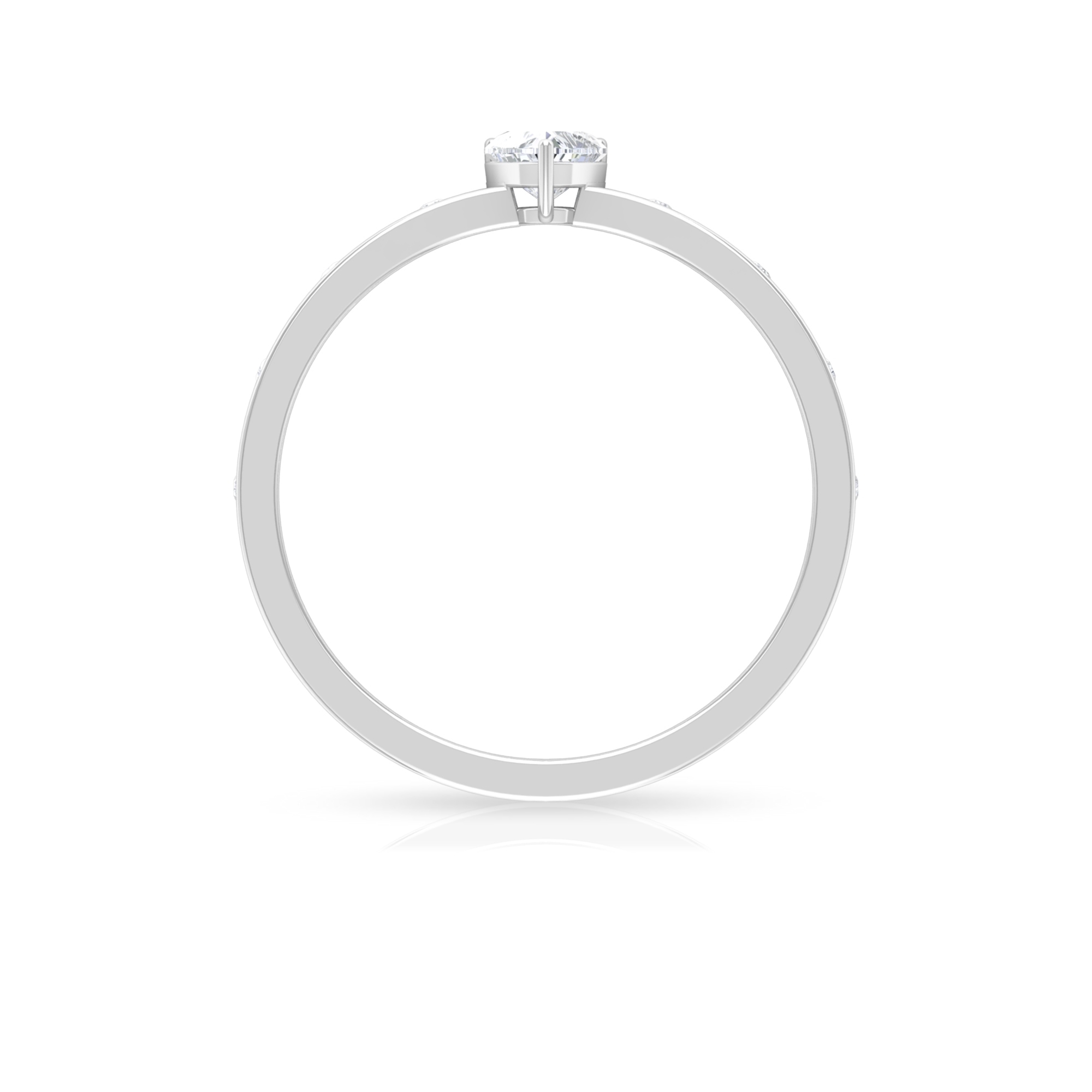 Three Prong Basket Set 4 MM Heart Solitaire Diamond Ring with Sleek Accent