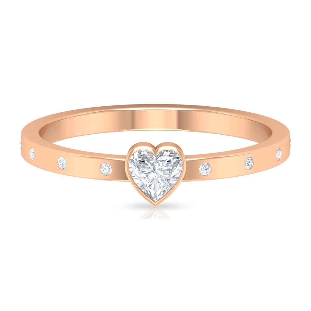 4 MM Heart Diamond Solitaire Ring in Bezel Set with Sleek Accent