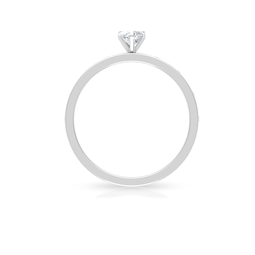 4 MM Heart Diamond Solitaire Ring in Three Prong Peg Head Set with Sleek Accent