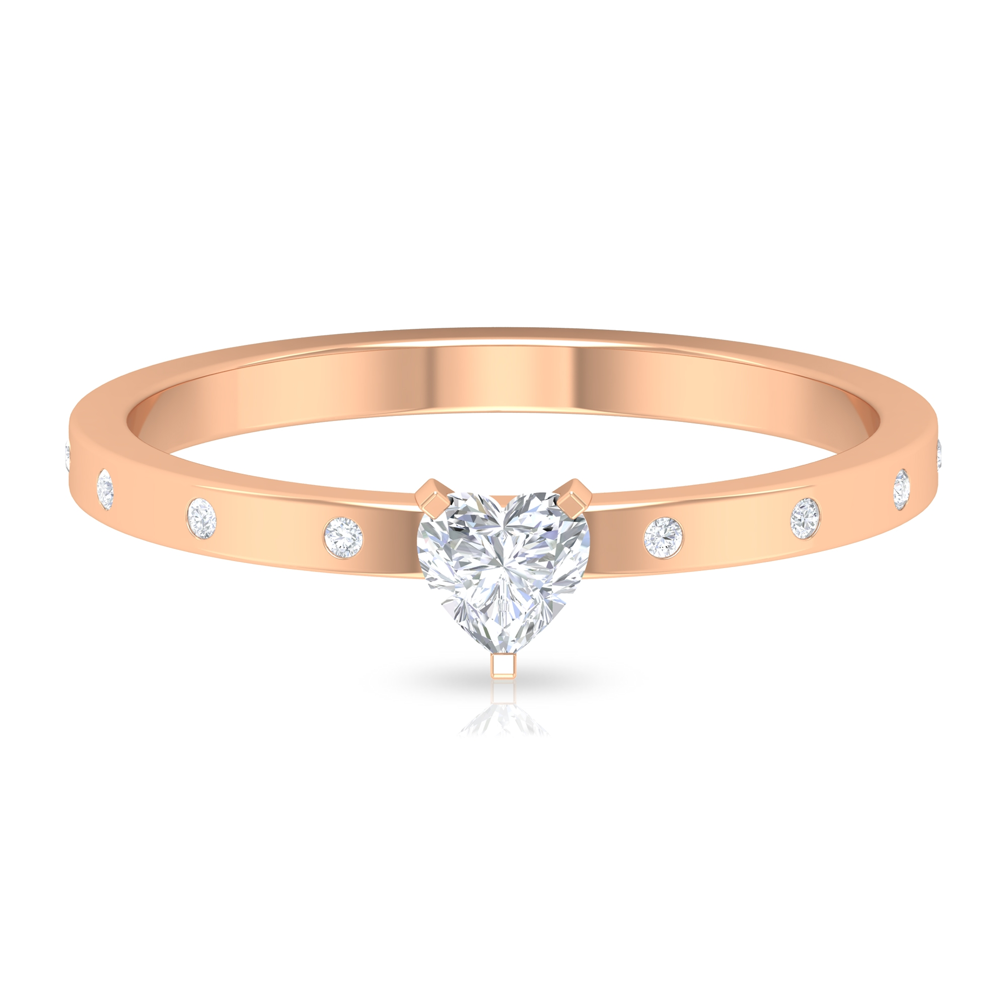 1/2 CT Heart Shape Diamond Solitaire Ring in 3 Prong Peg Head Setting with Sleek Accent
