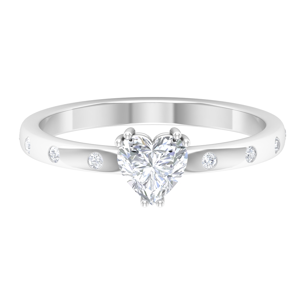 1/2 CT Heart Shape Diamond Solitaire Ring in Double Prong Setting with Sleek Accent