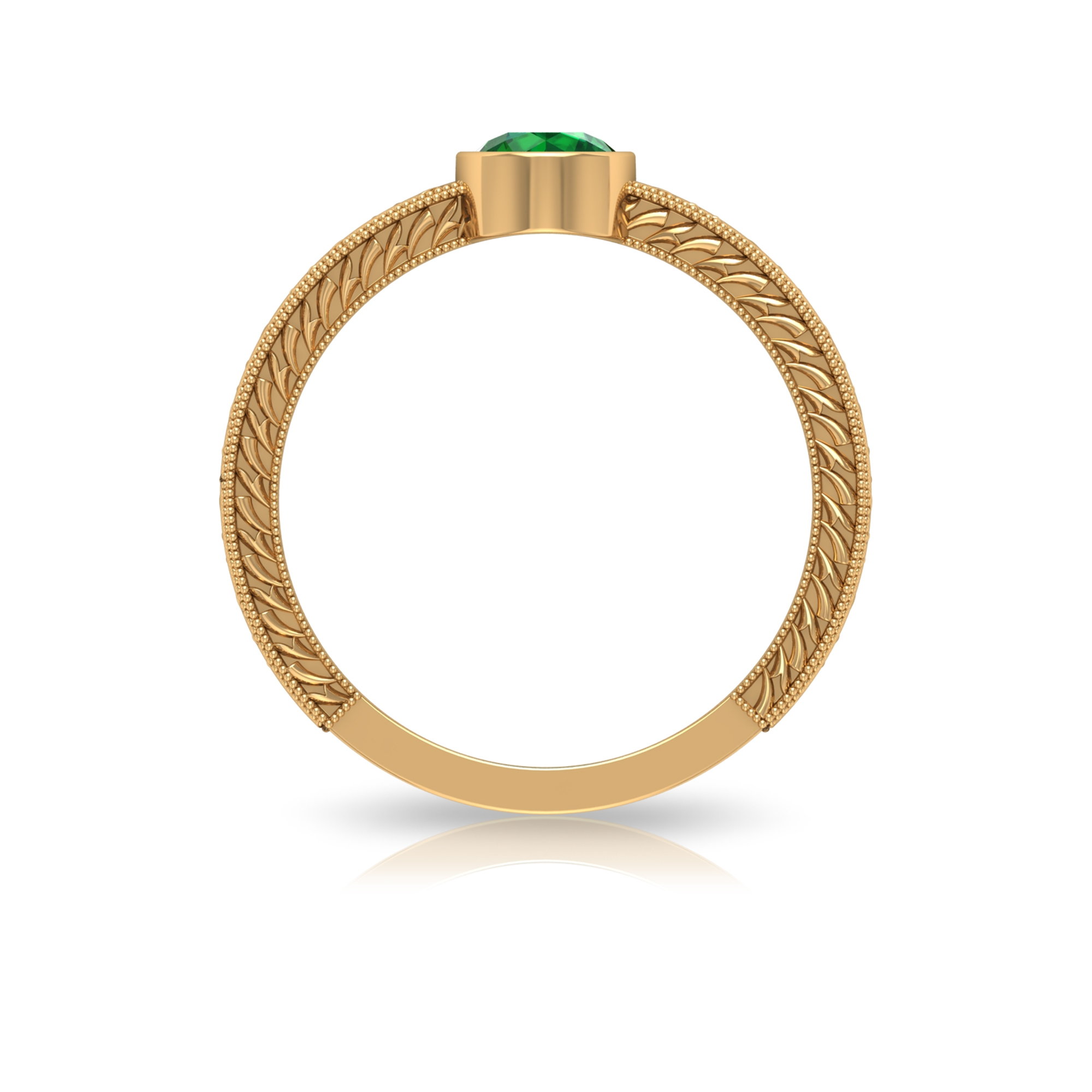 5 MM Round Emerald Solitaire and Gold Engraved Ring in Bezel Setting