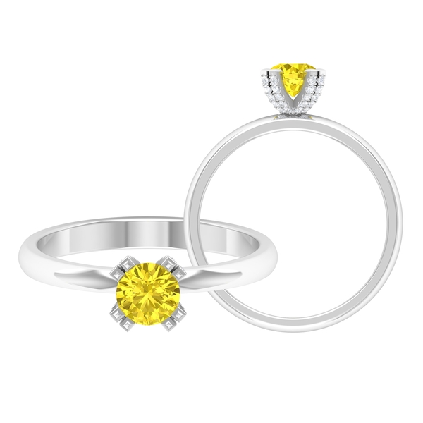 3/4 CT Yellow Sapphire Solitaire Engagement Ring in Double Prong Setting with White Diamond