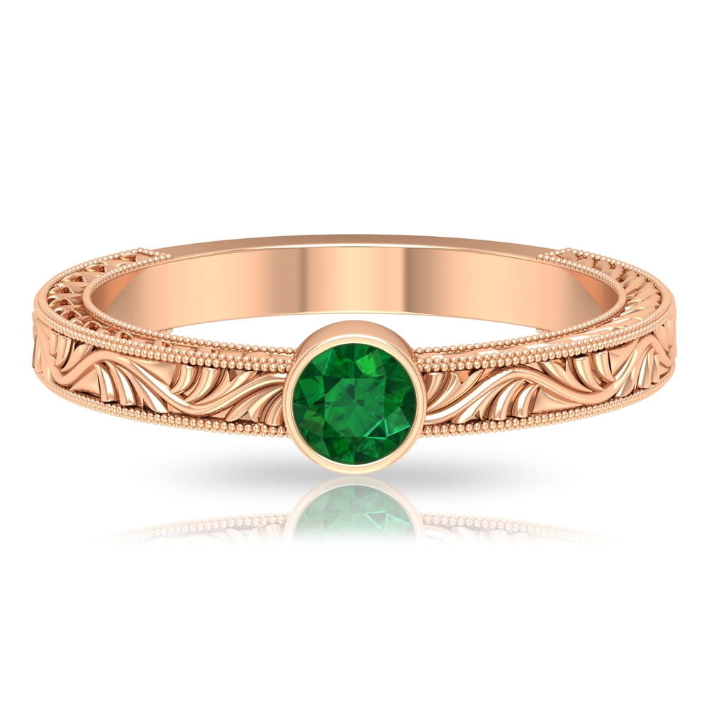 4 MM Bezel Set Round Emerald Gold Engraved Engagement Ring with Milgrains