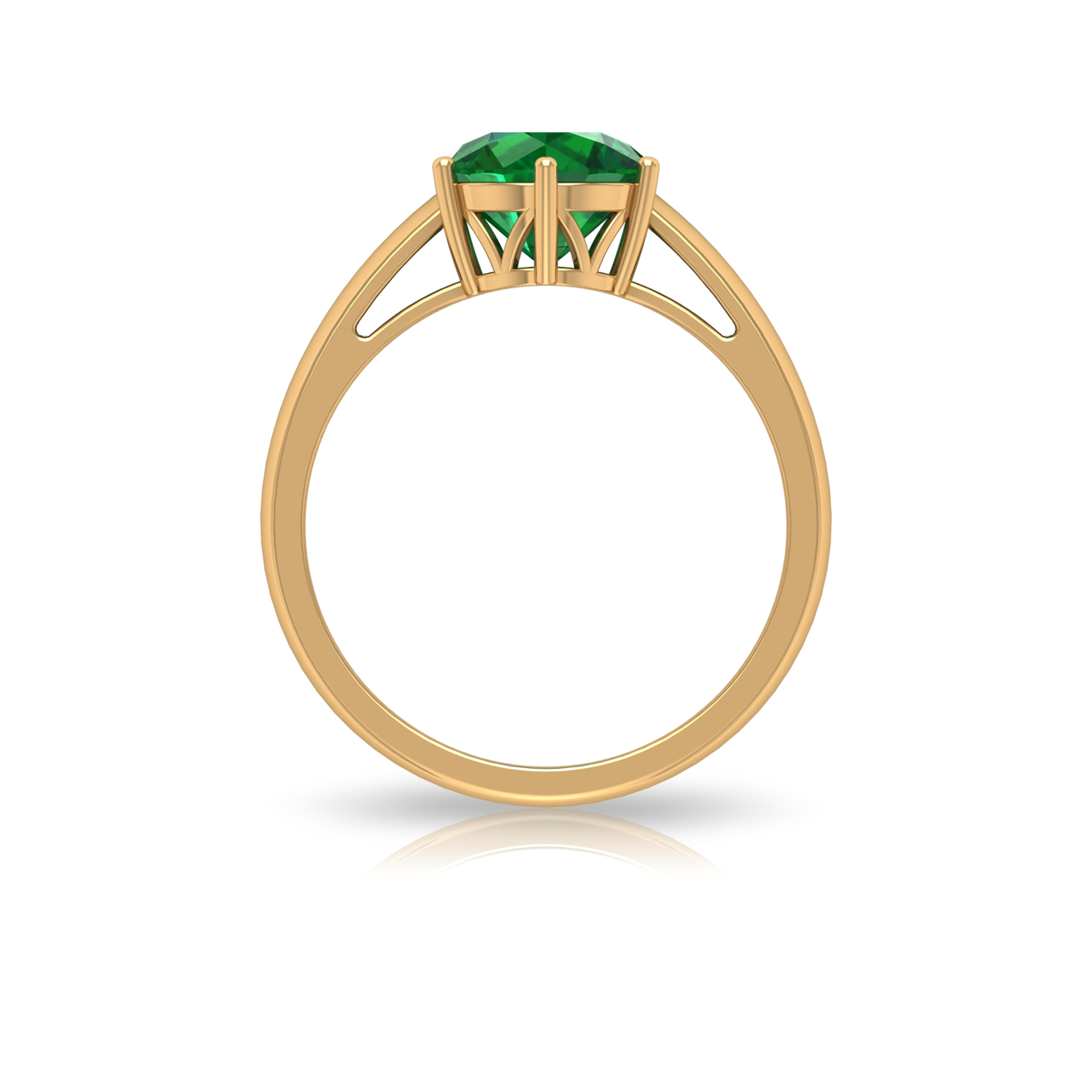 May Birthstone 8 MM Six Prong Set Round Cut Emerald Solitaire Crown Ring