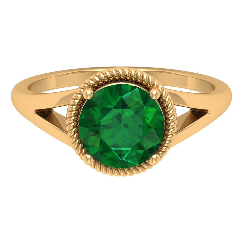 8 MM Rope Frame Round Cut Emerald Solitaire Split Shank Ring