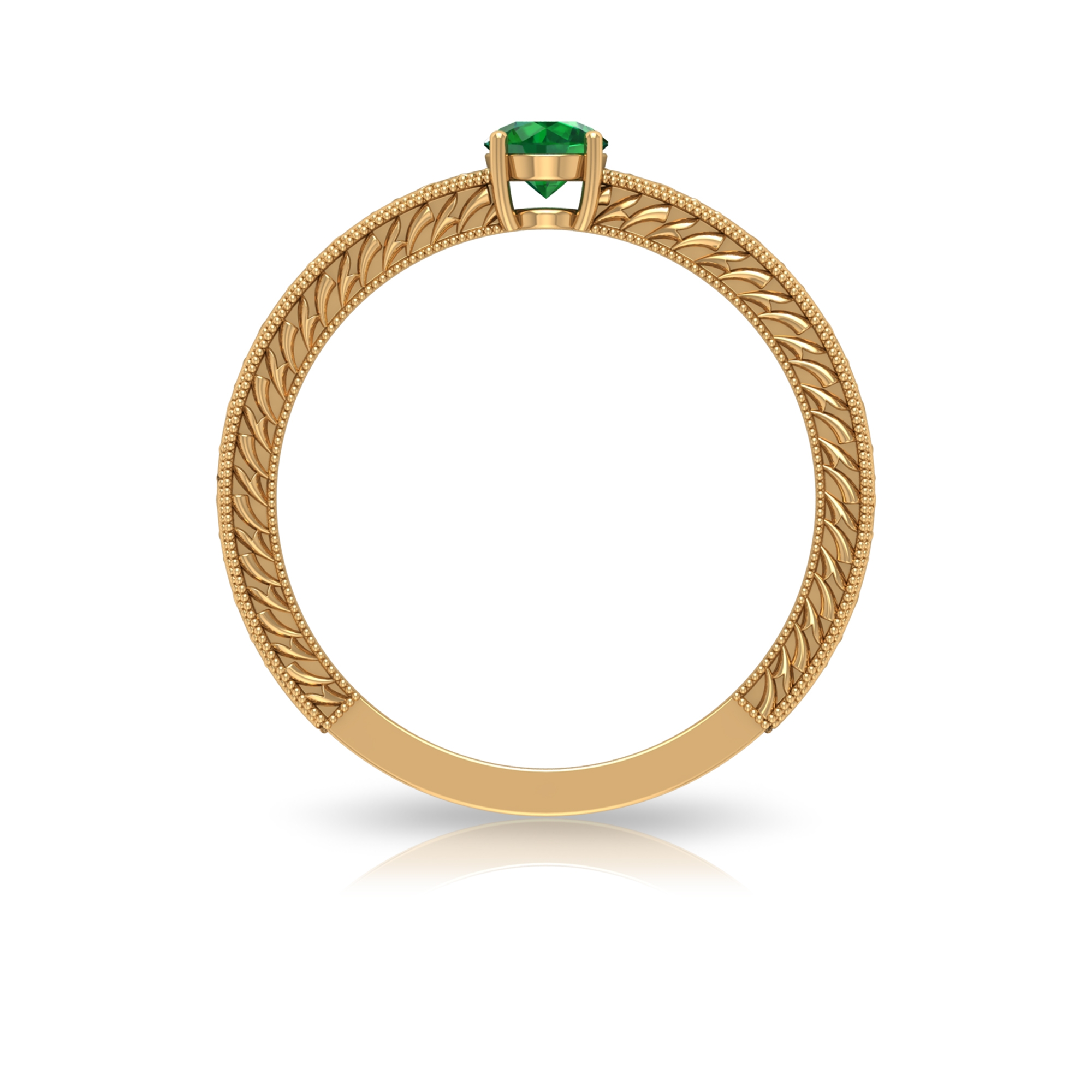 4 MM Round Cut Emerald Solitaire and Gold Engraved Ring in Four Prong Setting