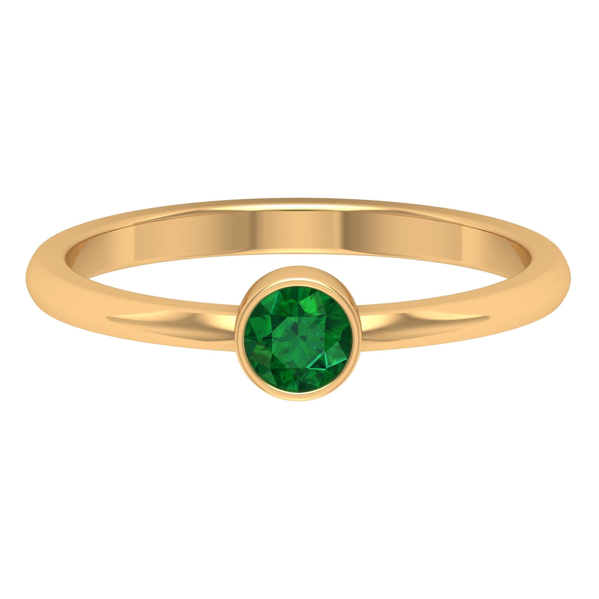4 MM Round Shape Emerald Solitaire Ring in Bezel Setting