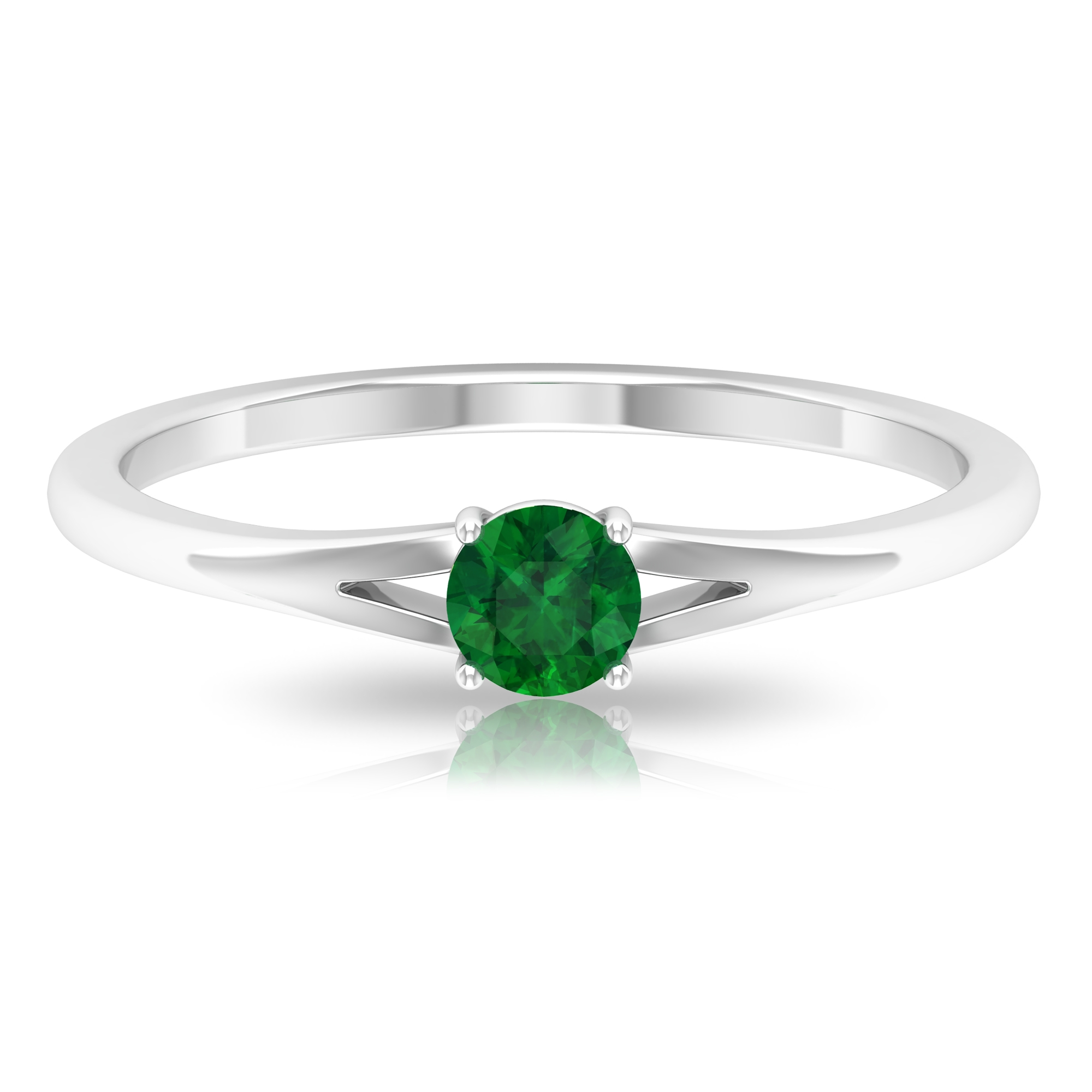 4 MM Round Cut Emerald Solitaire Ring in 4 Prong Setting with Split Shank