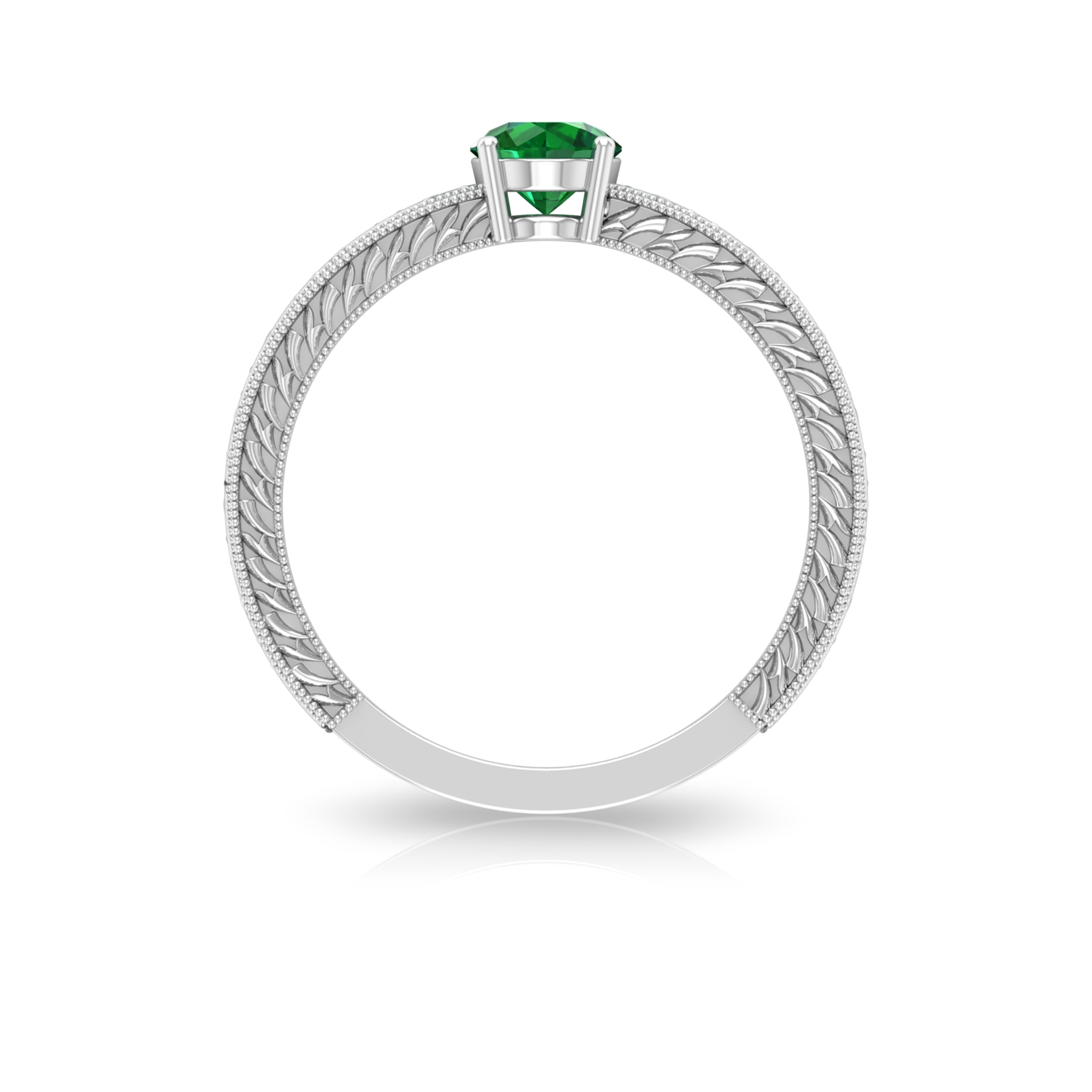 5 MM Round Cut Emerald Solitaire and Gold Engraved Ring in Four Prong Setting