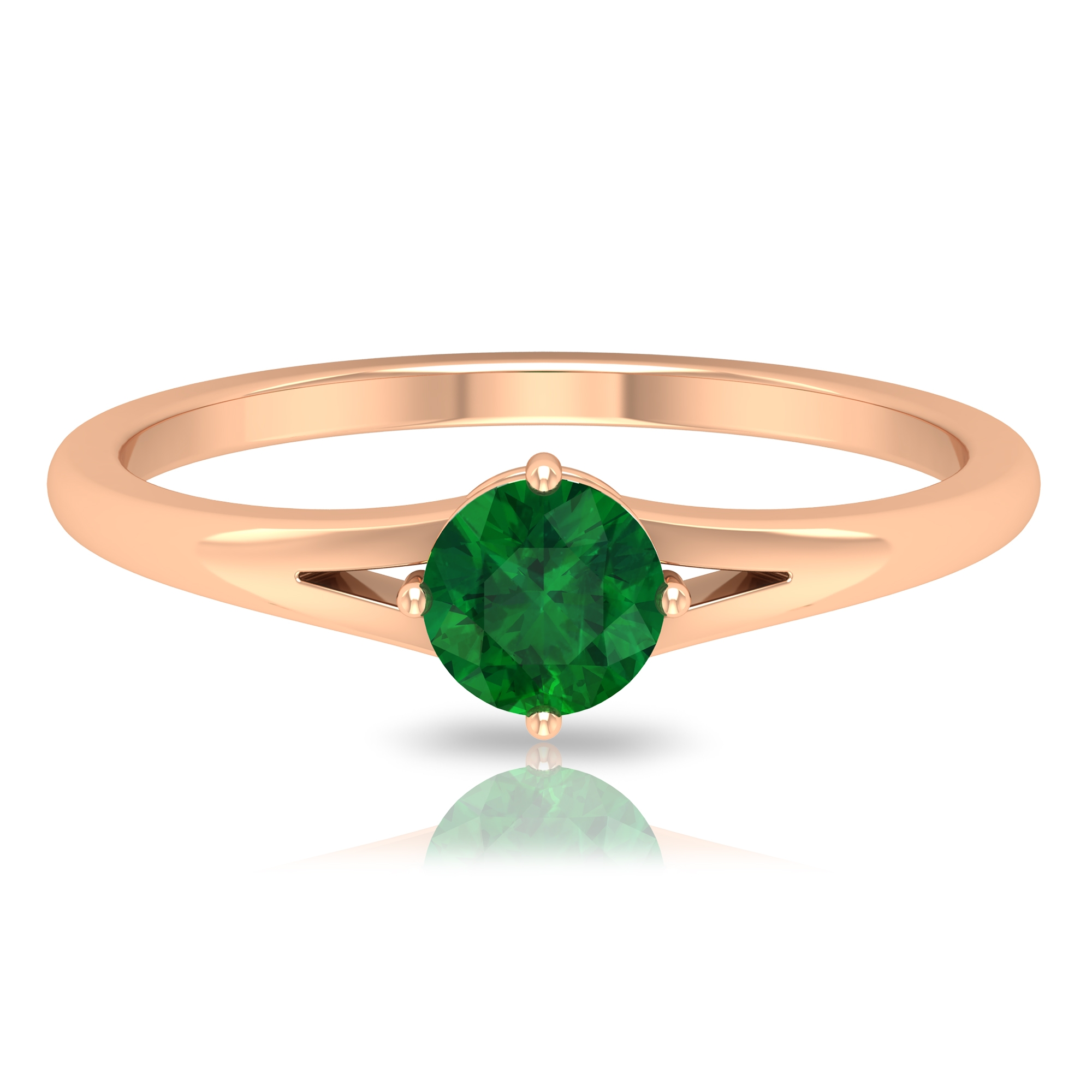 5 MM Round Cut Emerald Solitaire Ring in 4 Prong Diagonal Setting with Split Shank