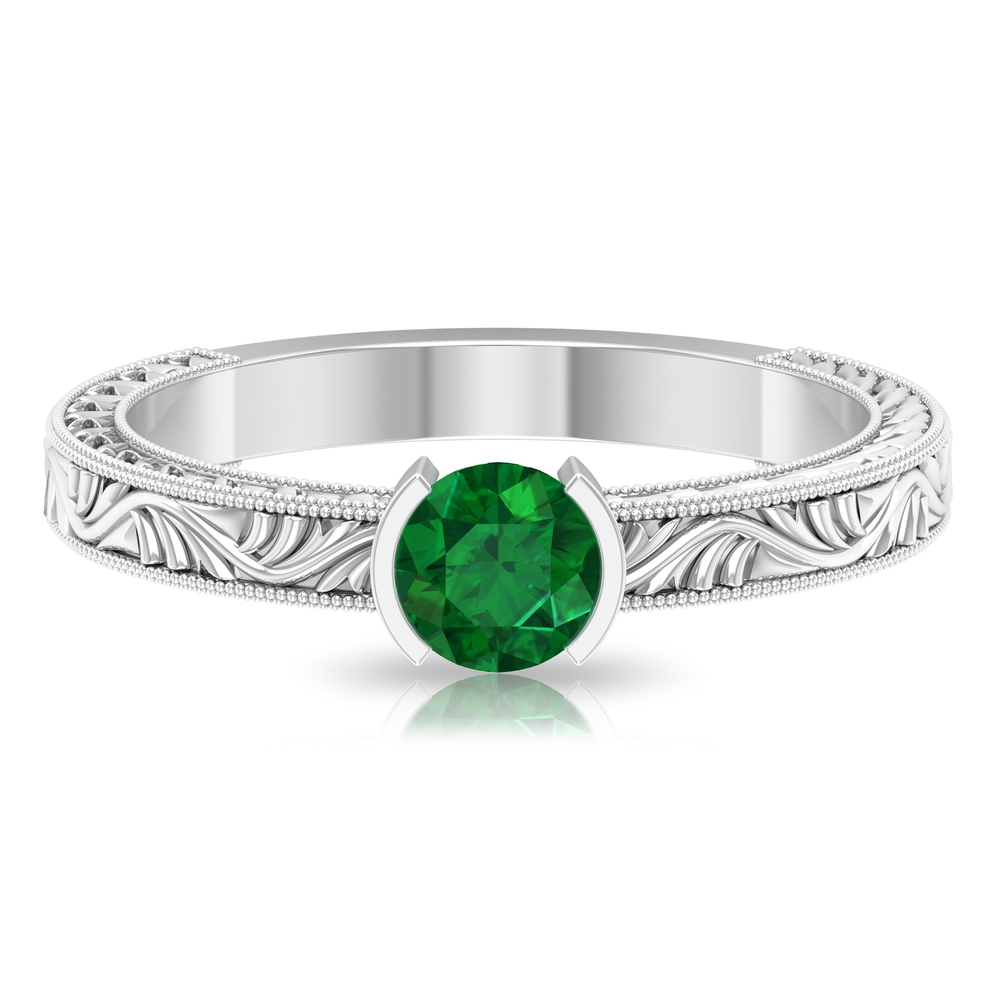 5 MM Round Cut Emerald Solitaire and Gold Engraved Ring in Half Bezel Setting