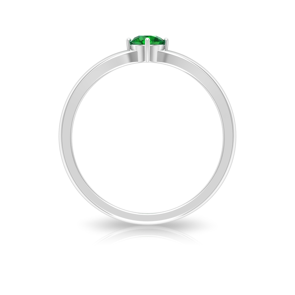 4 MM 4 Prong Diagonal Set Round Emerald Solitaire Engagement Ring with Split Shank