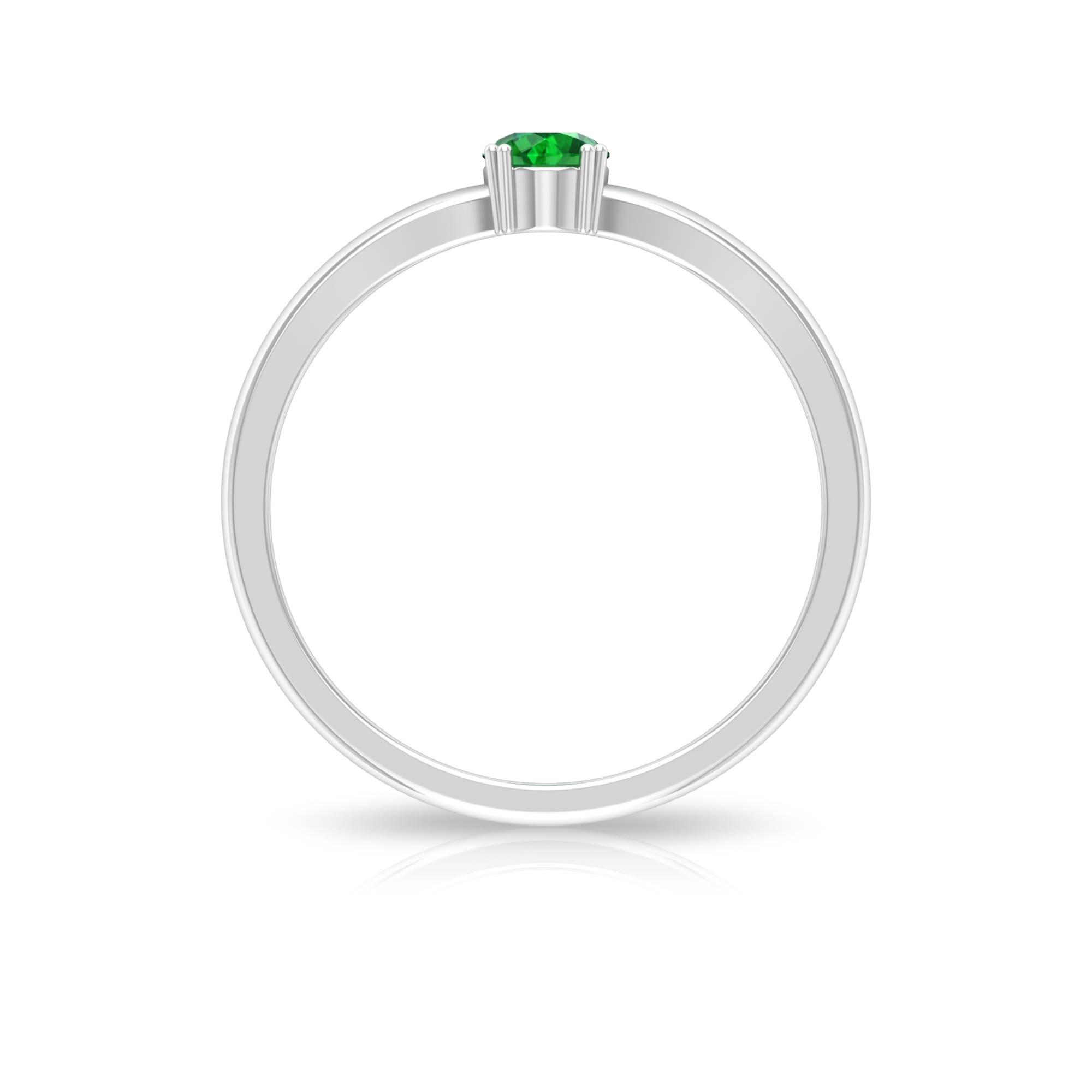 4 MM Round Emerald Solitaire Ring in Double Prong Setting with Split Shank
