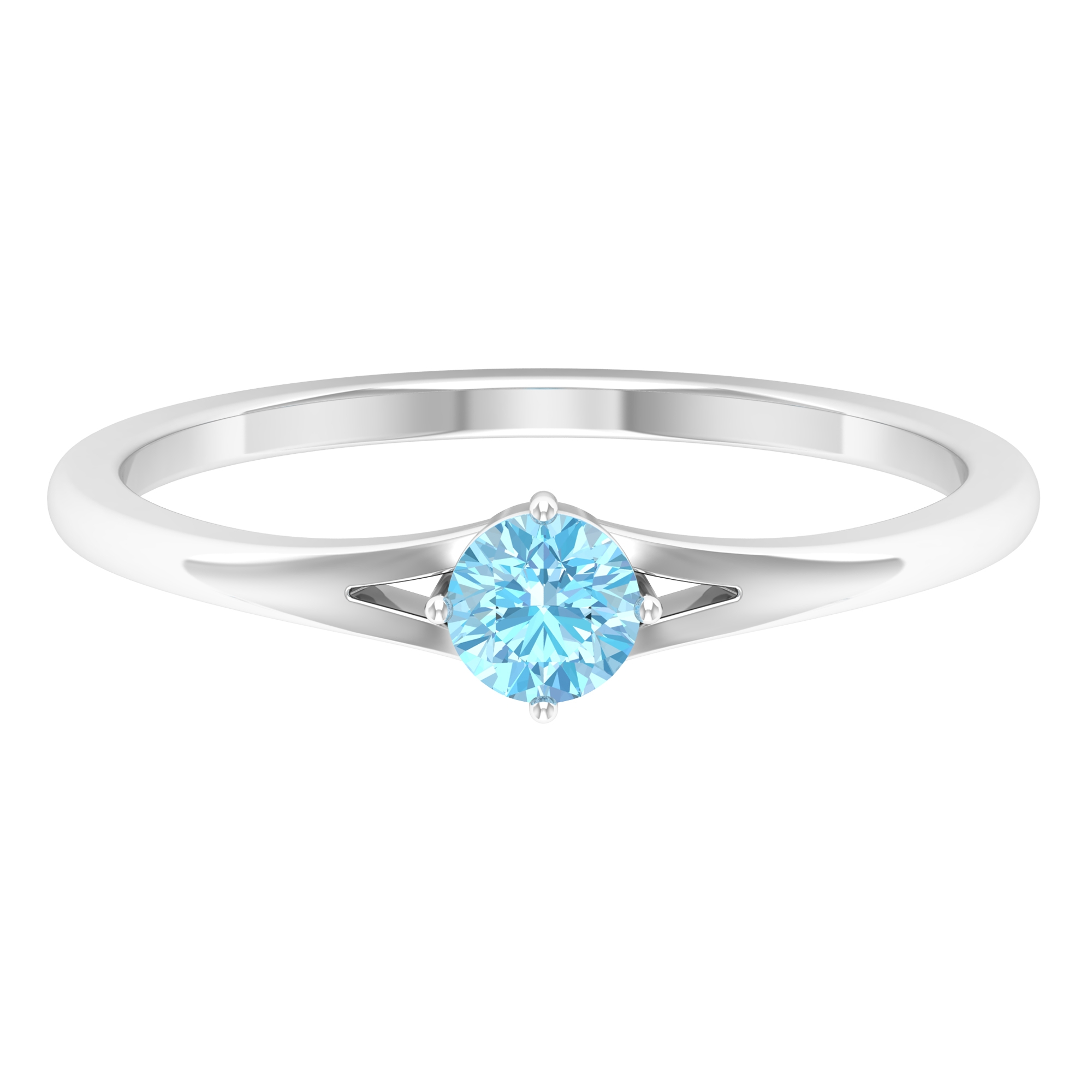 4 MM Round Shape Solitaire Aquamarine Split Shank Ring in 4 Prong Diagonal Setting