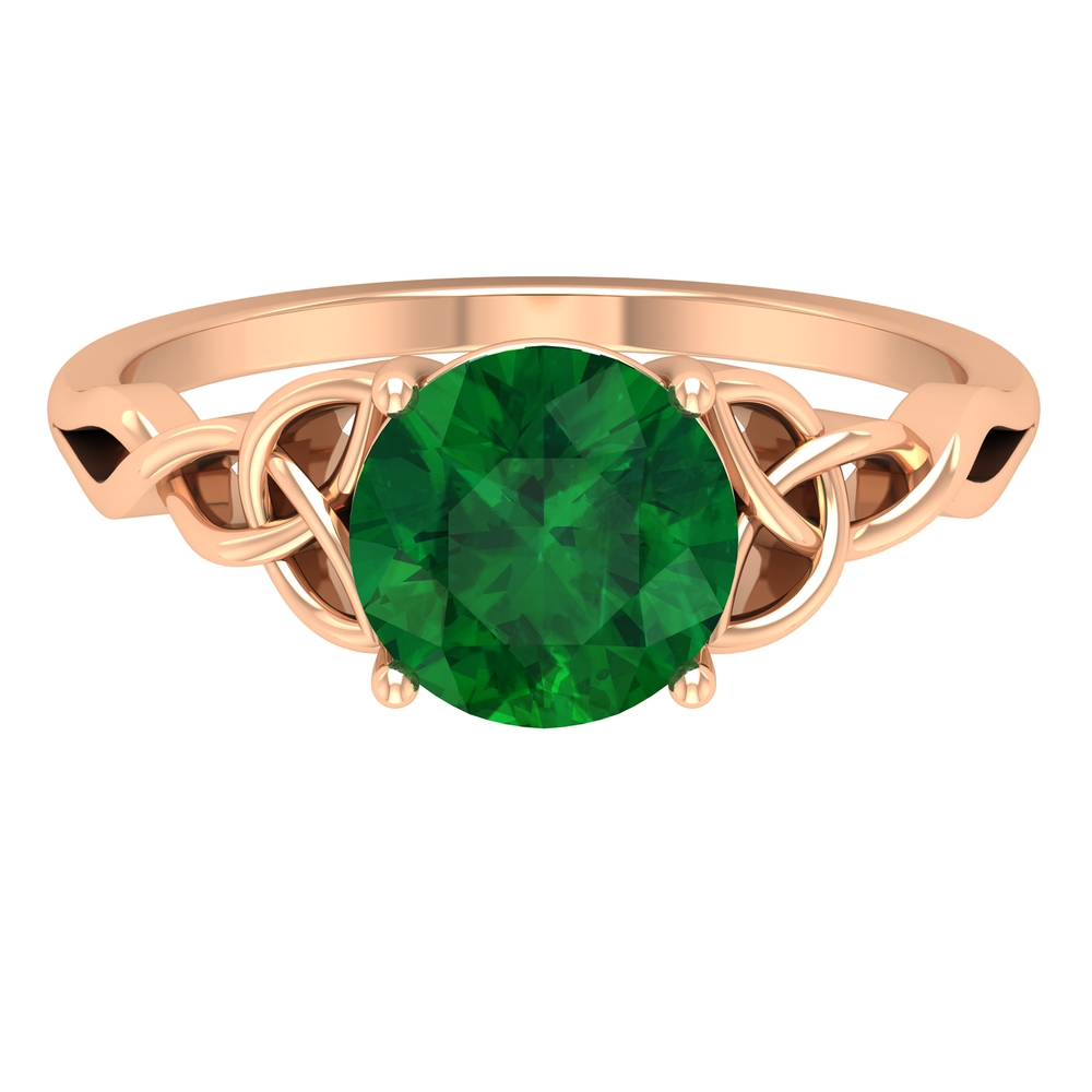 8 MM Four Prong Set Round Cut Emerald Solitaire Celtic Ring