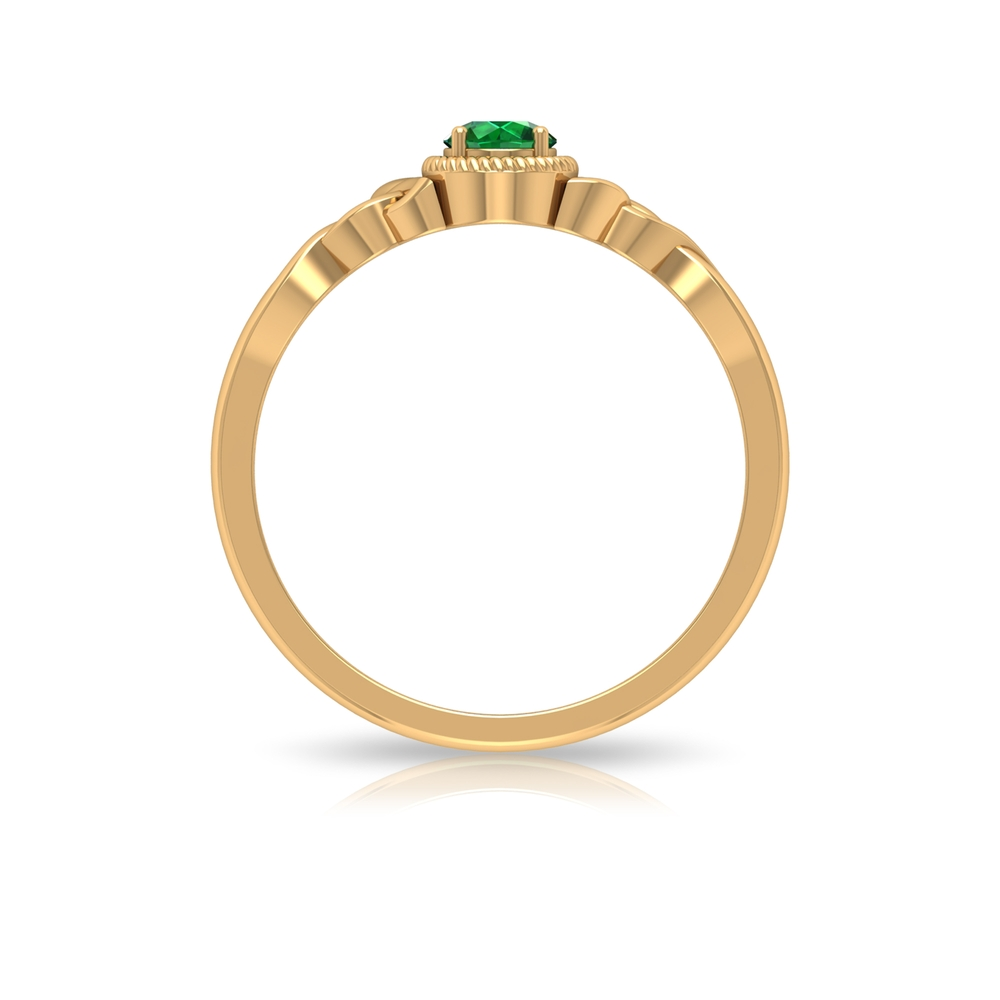 4 MM Round Emerald Solitaire Ring in Prong Setting with Rope Frame and Celtic Details