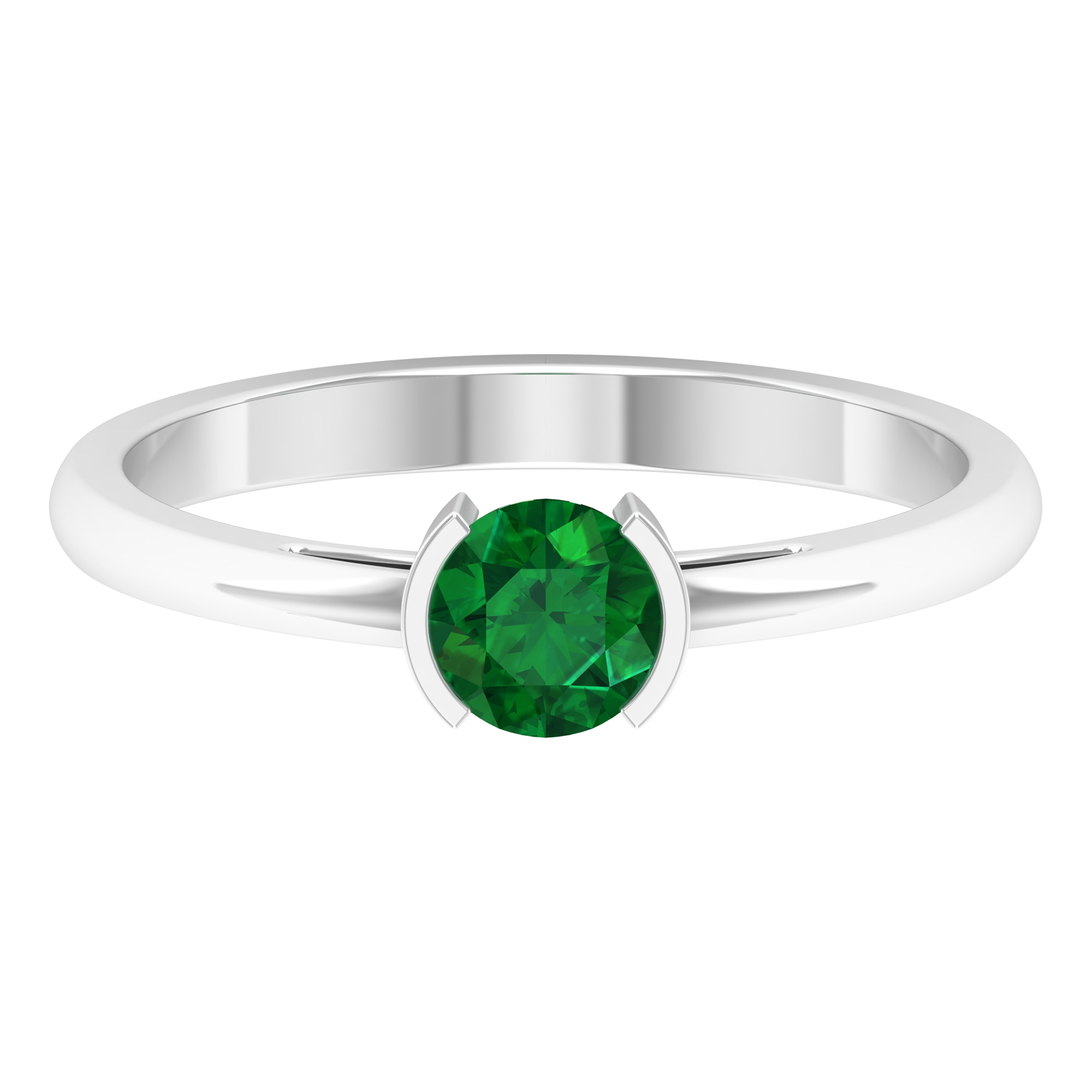 5 MM Round Shape Emerald Solitaire Ring in Half Bezel Setting