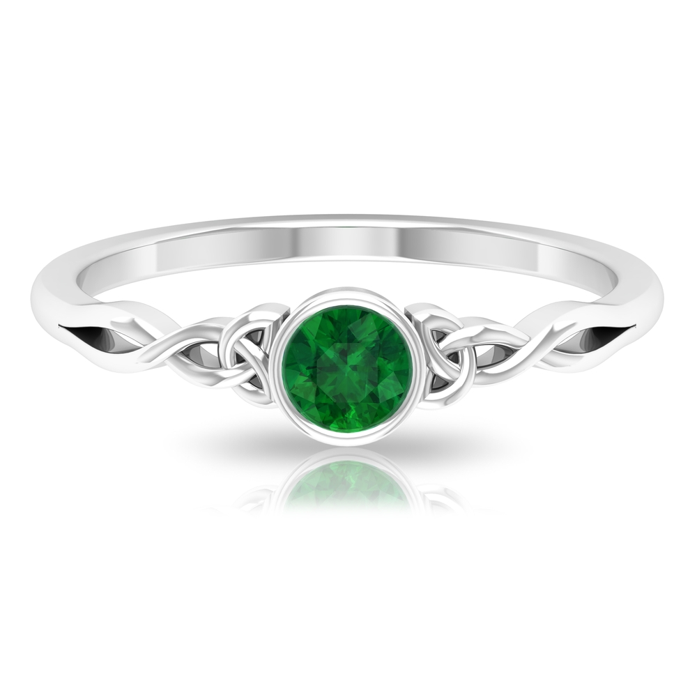 4 MM Round Shape Emerald Solitaire Ring in Bezel Setting with Celtic Shank