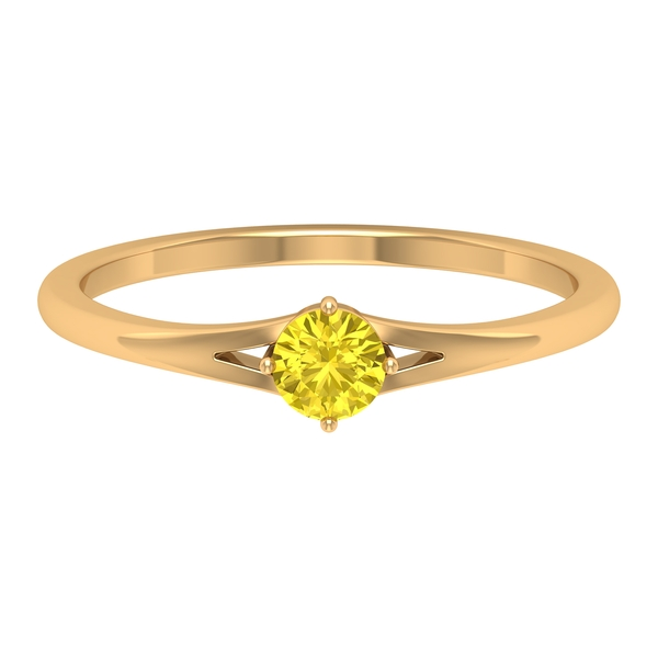 4 MM Round Shape Solitaire Yellow Sapphire Split Shank Ring in 4 Prong Diagonal Setting