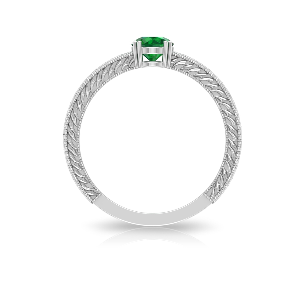 5 MM Round Cut Emerald Solitaire and Gold Engraved Ring in Double Prong Setting