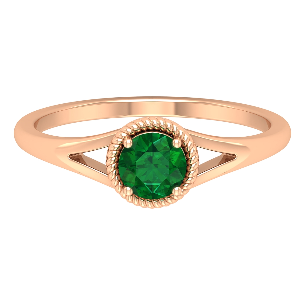 5 MM Round Emerald Solitaire Ring in Prong Setting with Rope Frame and Split Shank