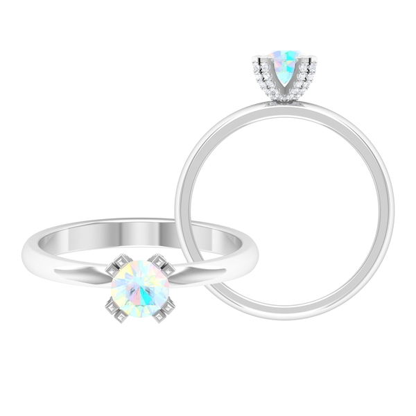 1/4 CT Ethiopian Opal Solitaire Engagement Ring in Double Prong Setting with White Diamond