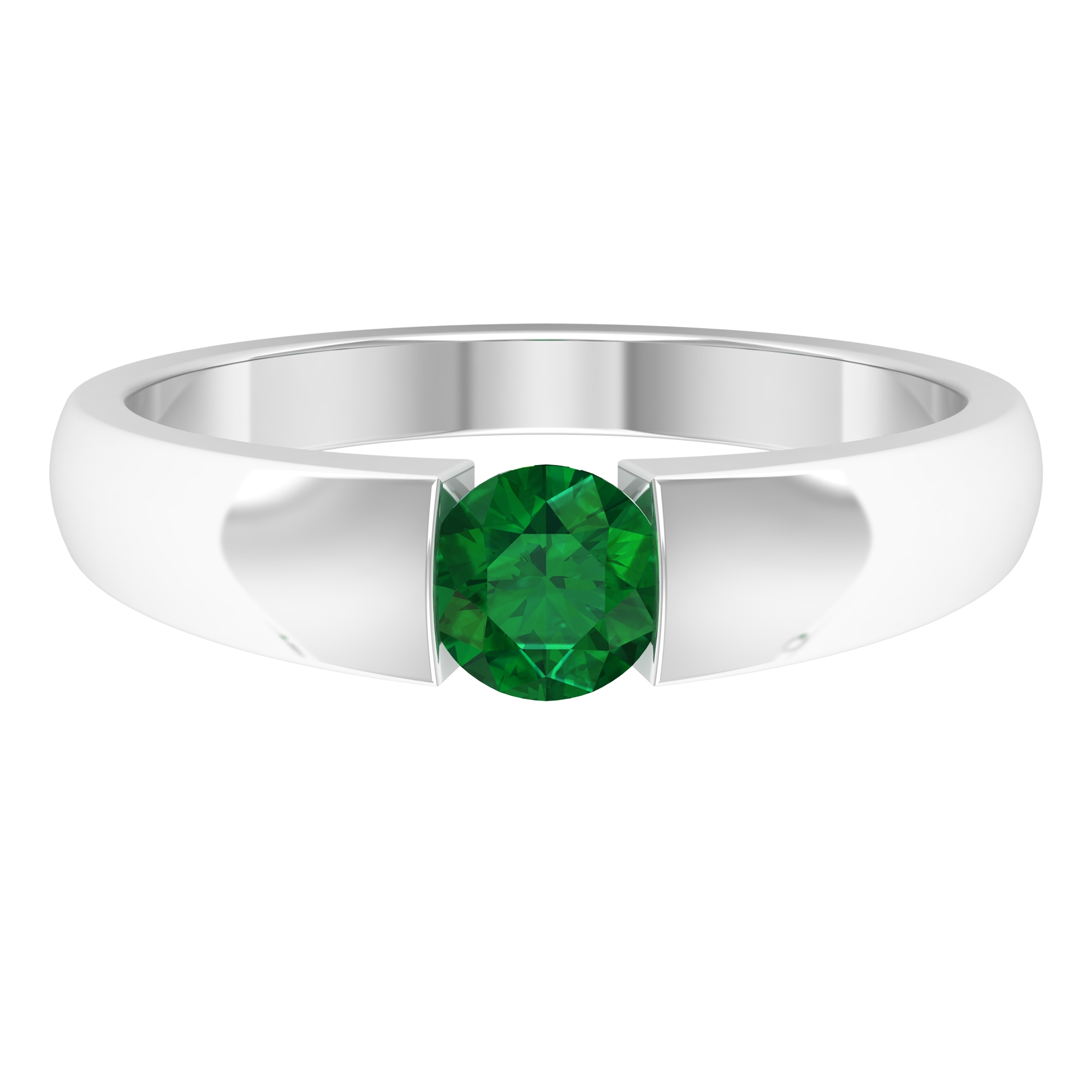 5 MM Round Emerald Solitaire Ring in Tension Mount Setting