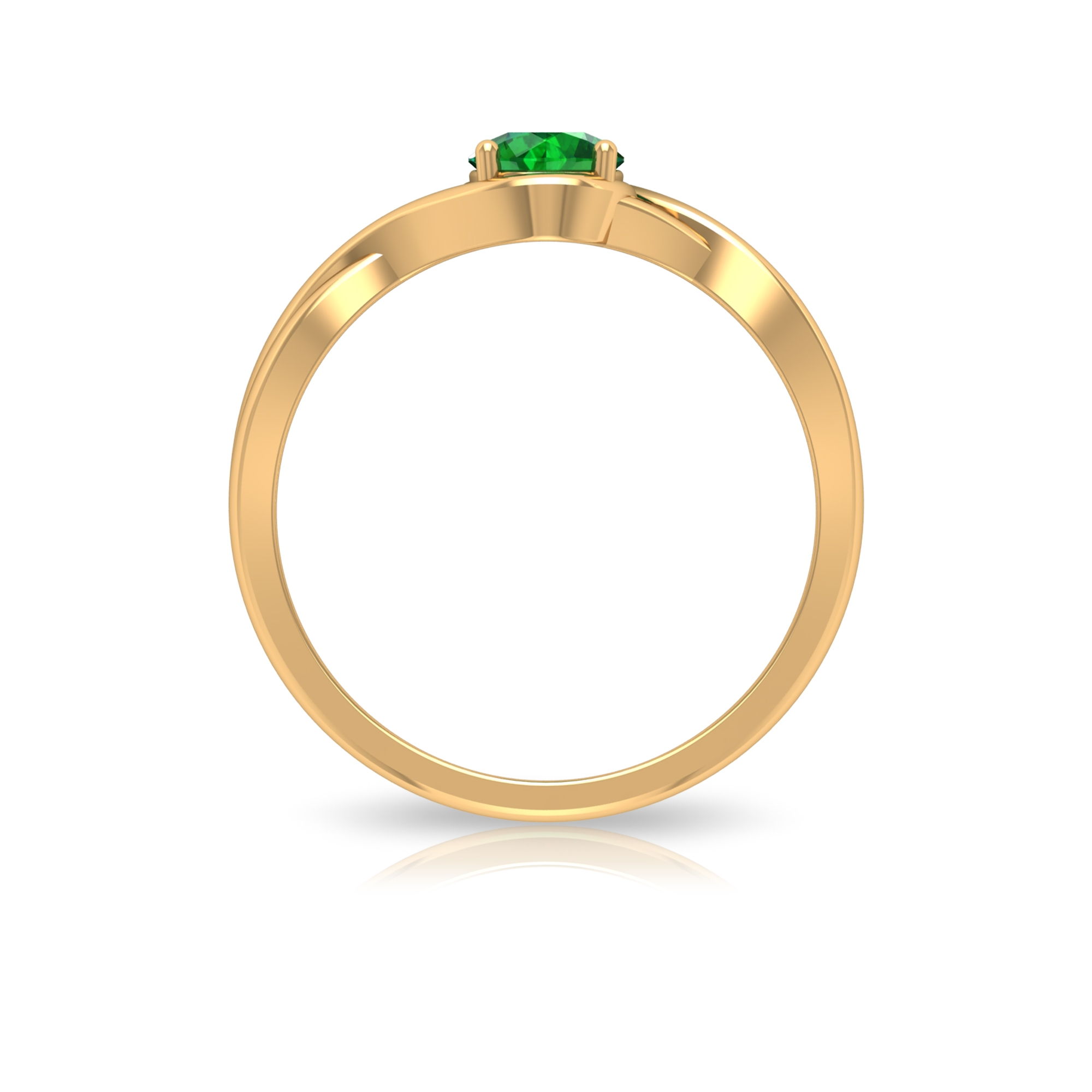 5 MM Round Shape Emerald Solitaire Ring in Four Prong Setting with Crossover Shank