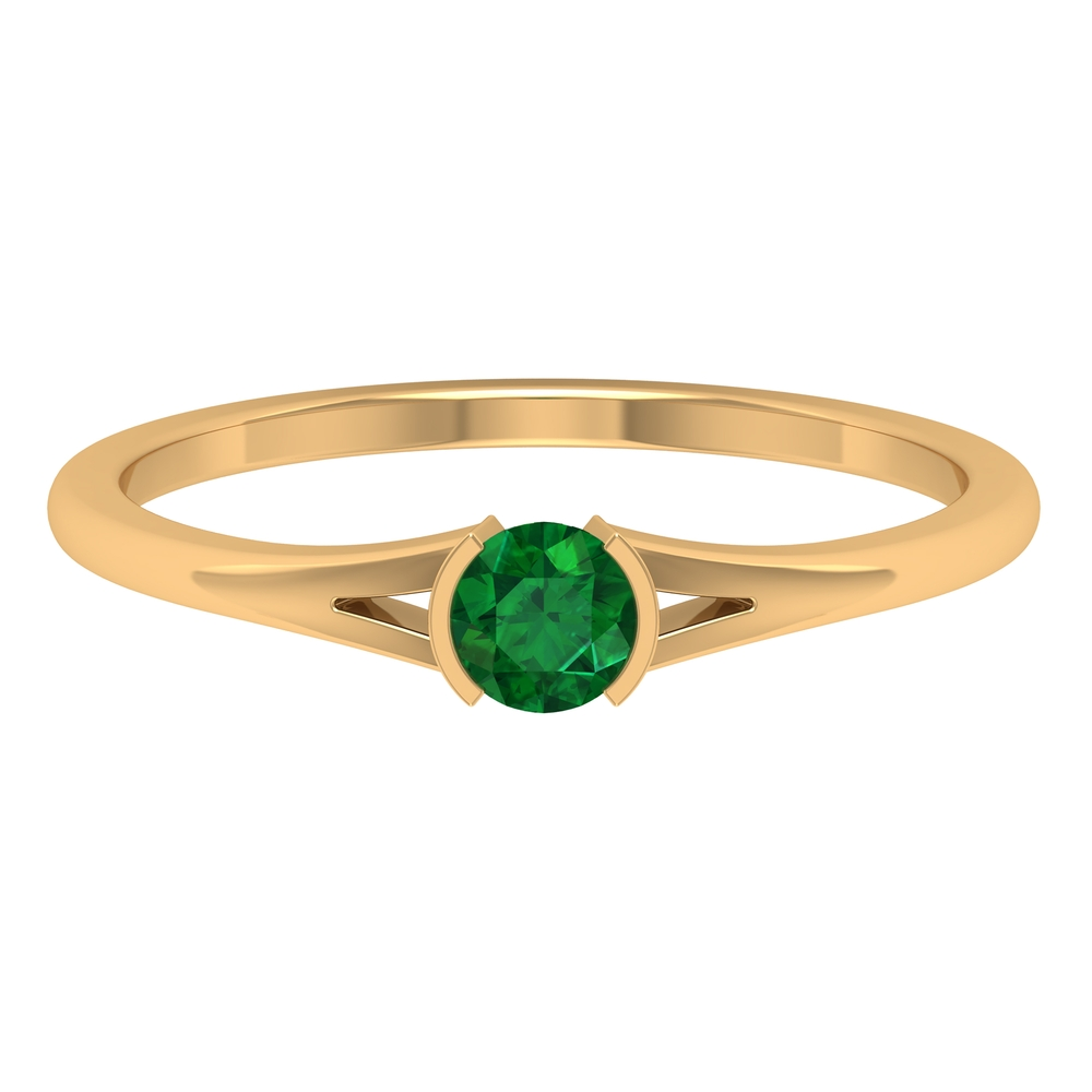 4 MM Round Emerald Solitaire Ring in Half Bezel Setting with Split Shank
